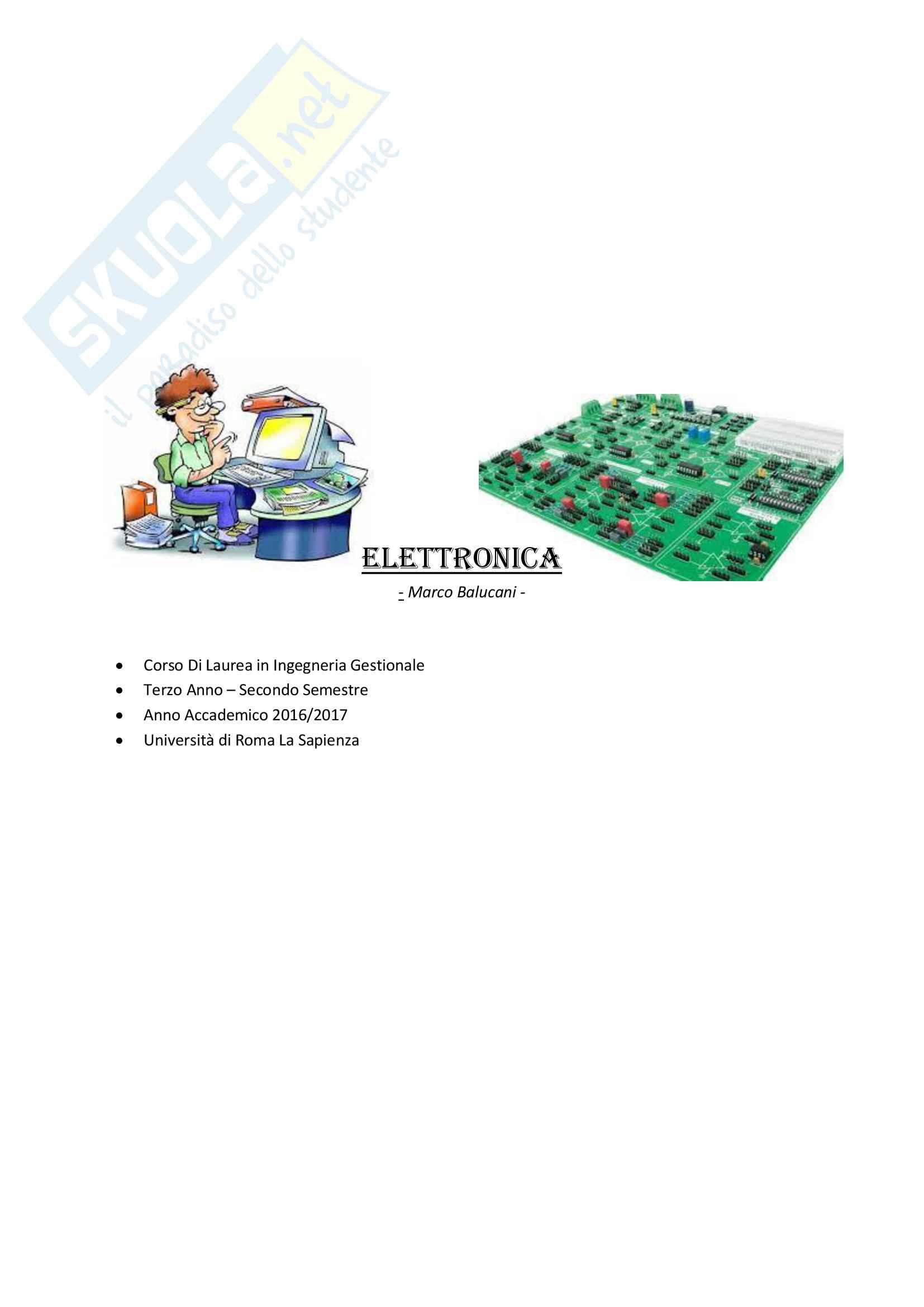 Appunti e Schemi Riassuntivi di Elettronica - Ingegneria Gestionale