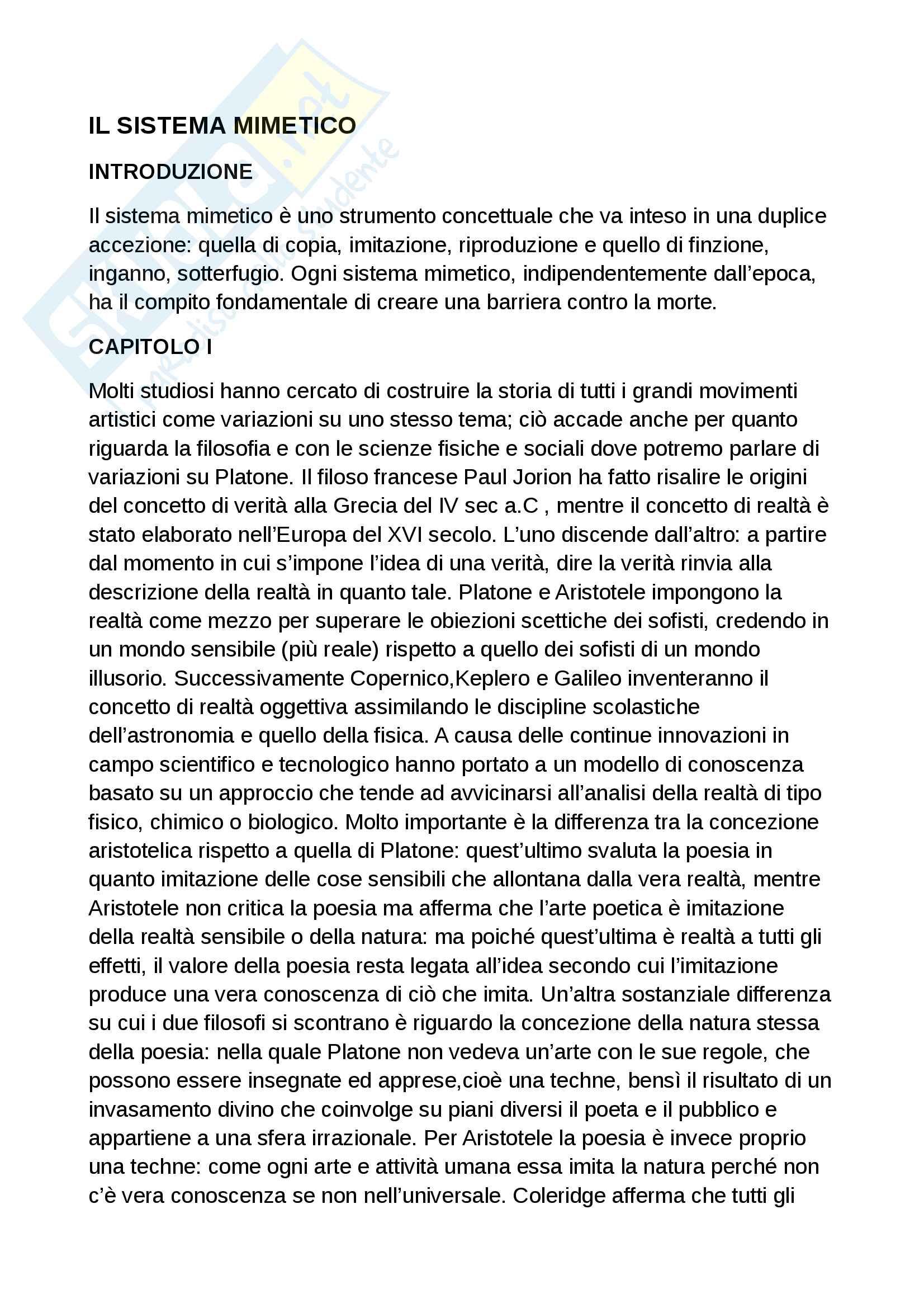 Riassunto esame sociologia dei processi e della comunicazione, prof. Pecchinenda, libro consigliato Il sistema mimetico