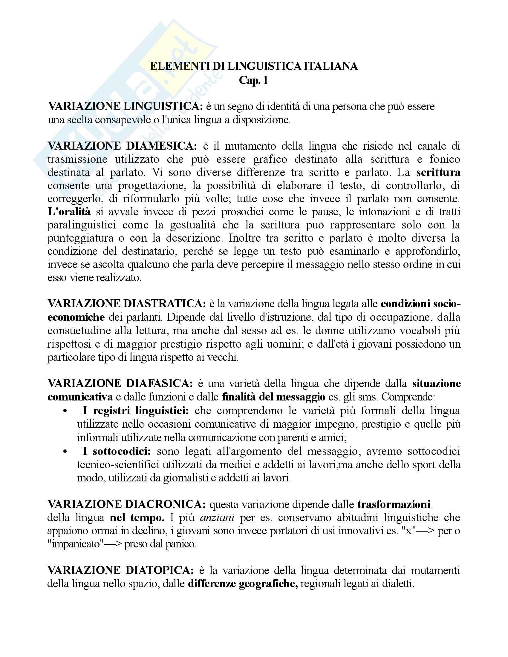 Elementi di linguistica italiana - Riassunto esame, prof. Vignuzzi