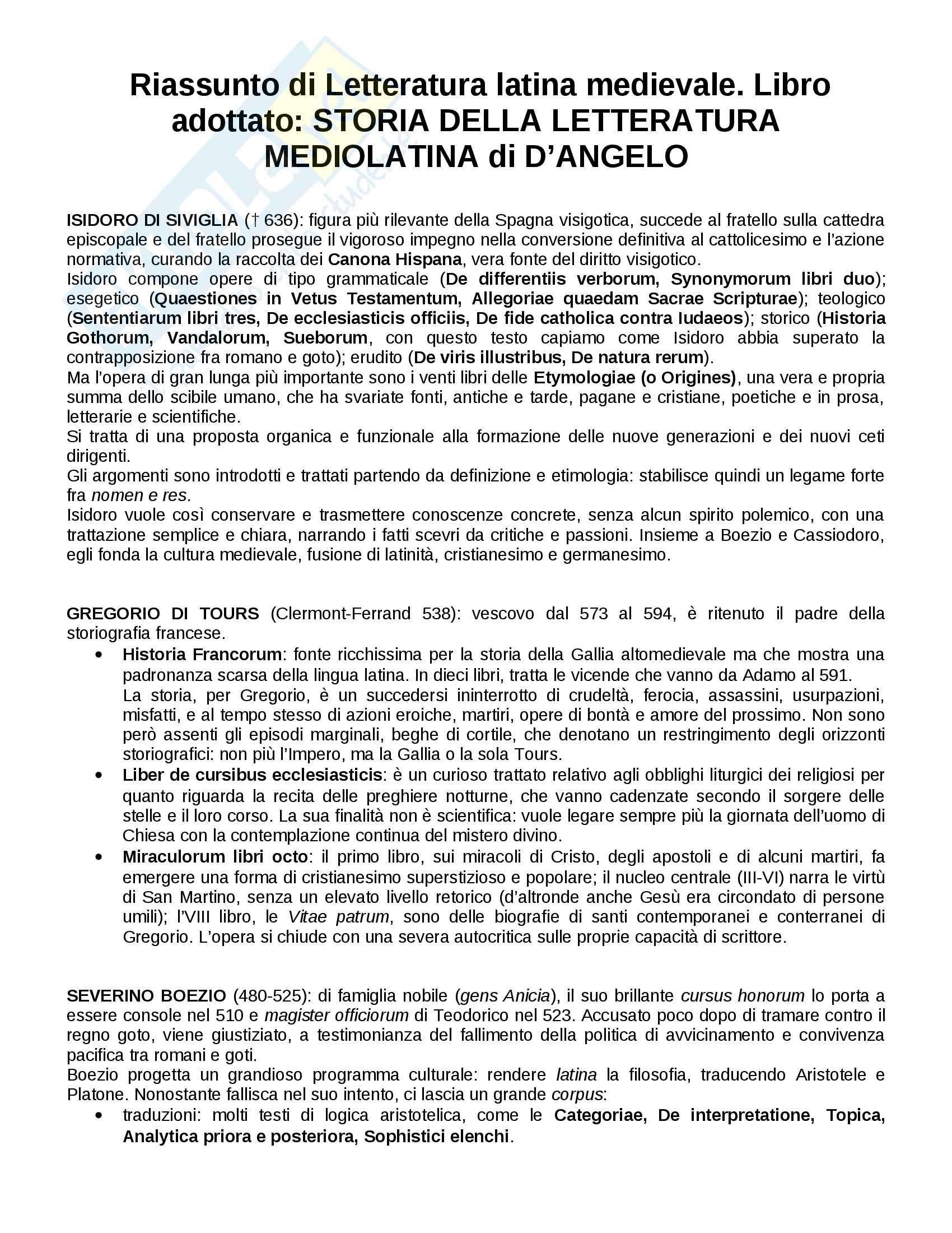 Riassunto esame Letteratura latina medievale, prof. Pittaluga, libro consigliato Storia della Letteratura Mediolatina di D'Angelo
