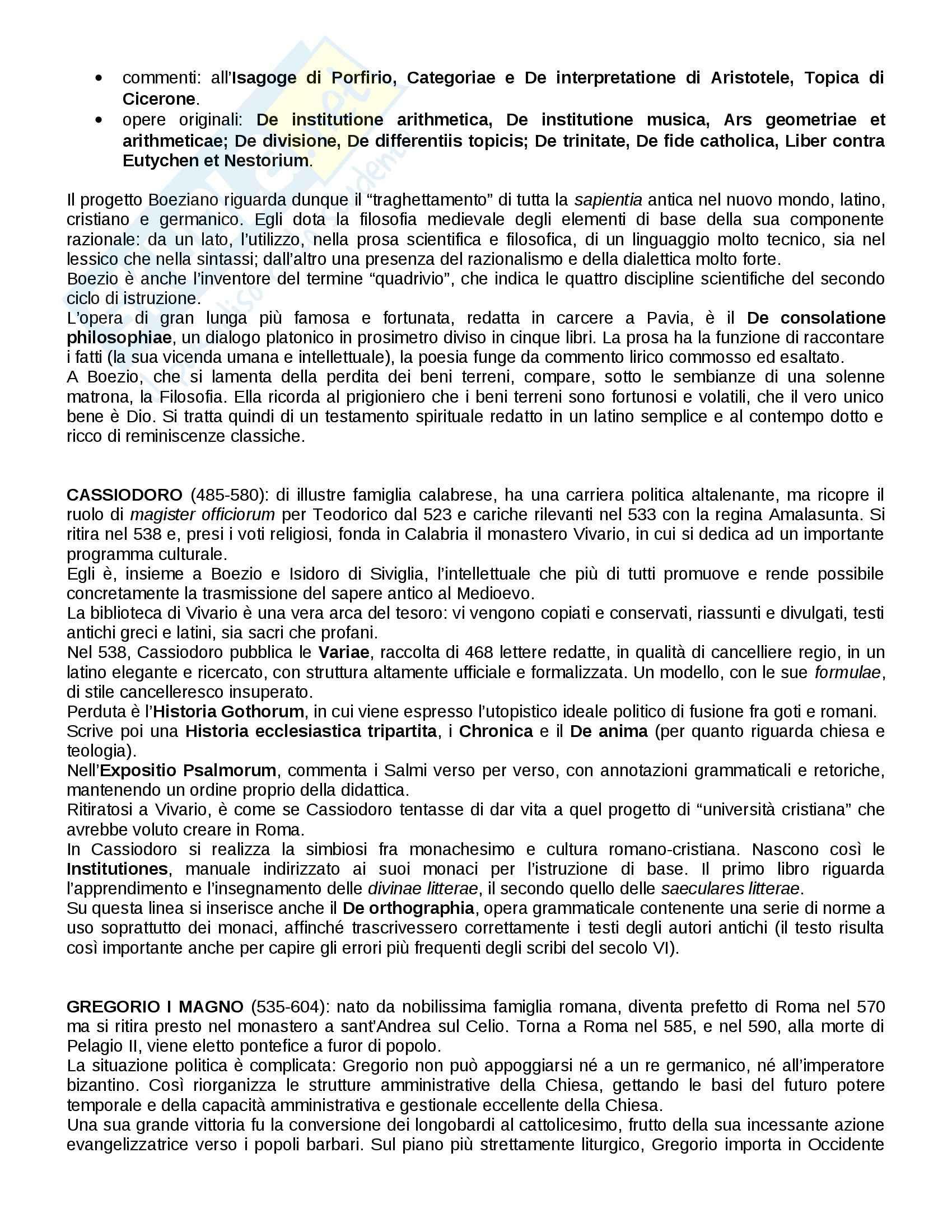 Riassunto esame Letteratura latina medievale, prof. Pittaluga, libro consigliato Storia della Letteratura Mediolatina di D'Angelo Pag. 2