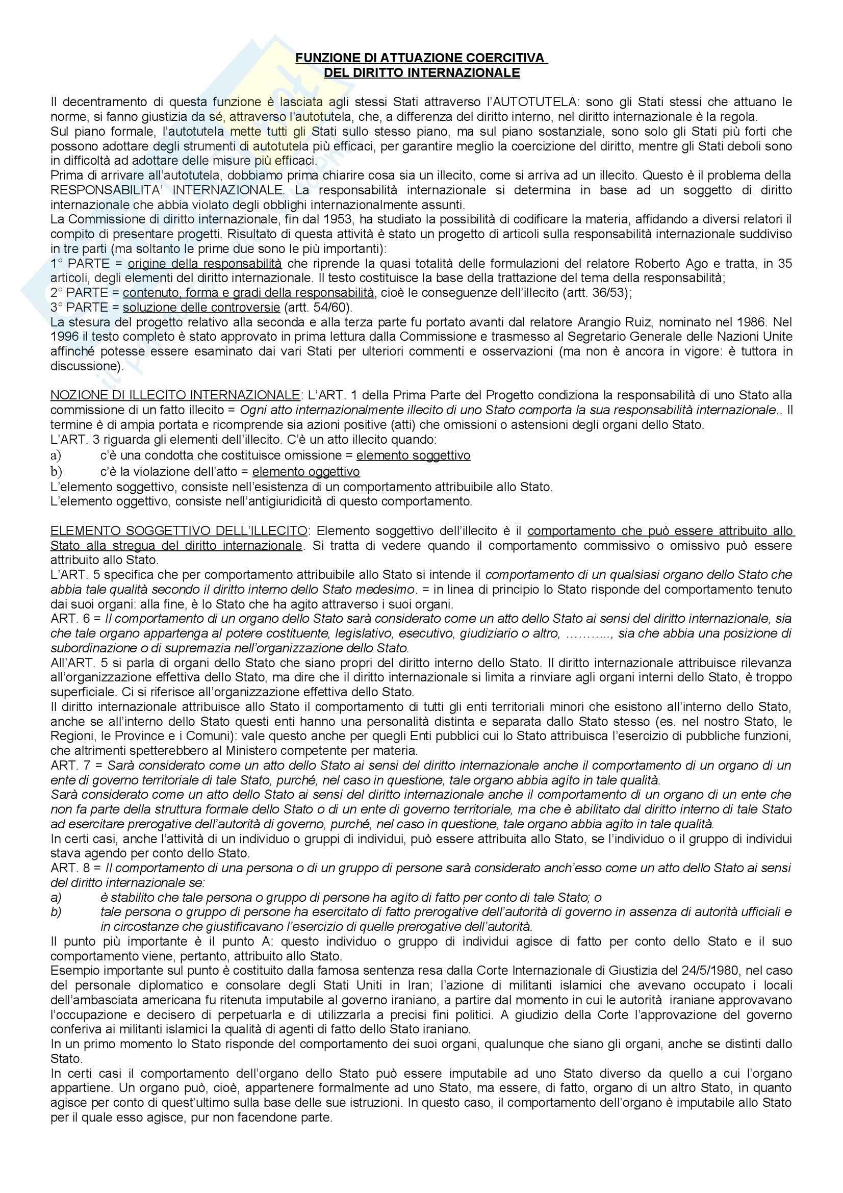 Diritto internazionale - funzione di attuazione coercitiva