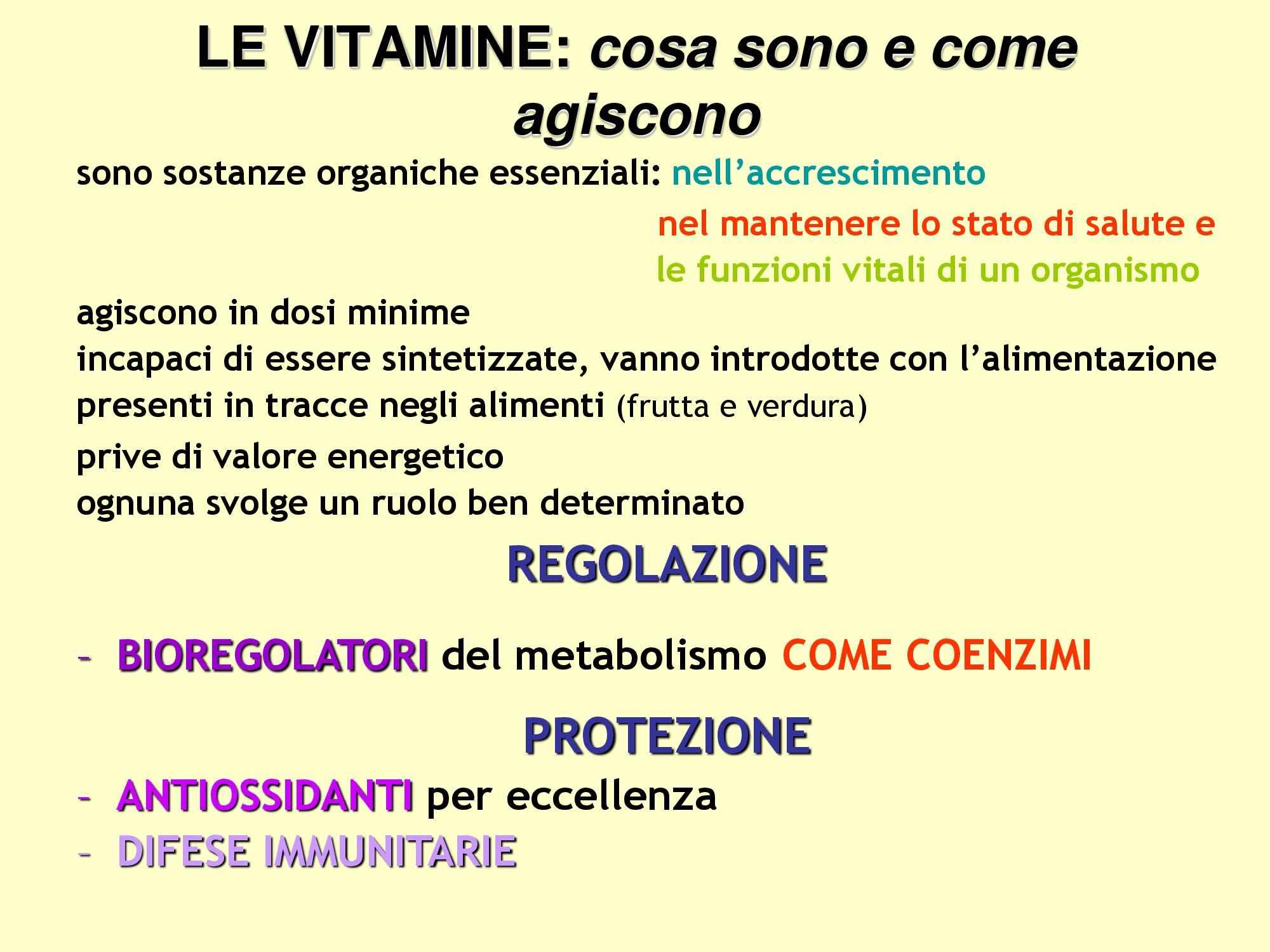 Vitamine, Dispensa di Chimica degli alimenti