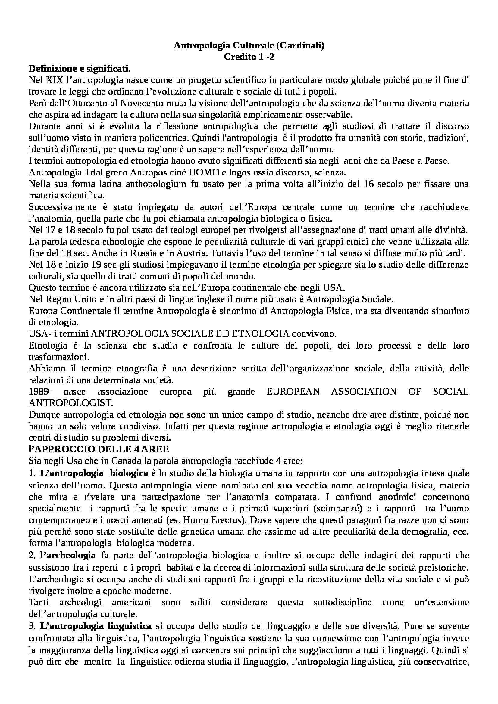 Antropologia culturale - Riassunto esame delle dispense, prof. Cardinali