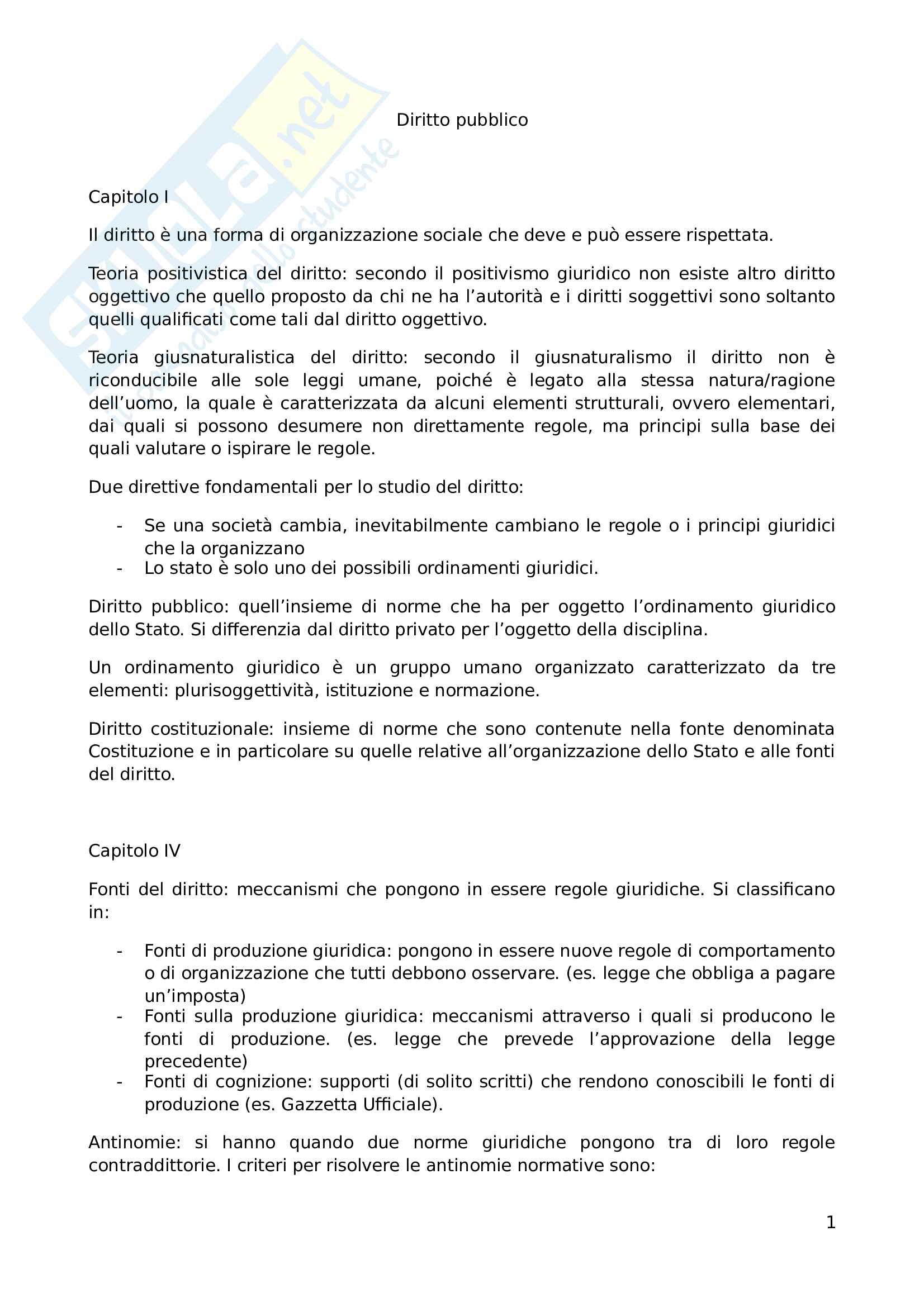 """Riassunto esame, Prof. Andrea Simoncini, libro consigliato """"Introduzione allo studio del diritto pubblico e delle sue fonti"""""""