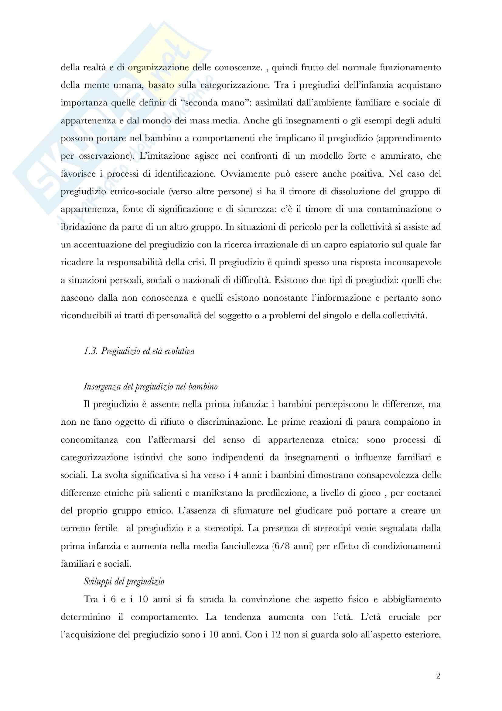 Riassunto esame Pedagogia, testo consiglato Il Pregiudizio, Nobile, prof. Nobile Pag. 2