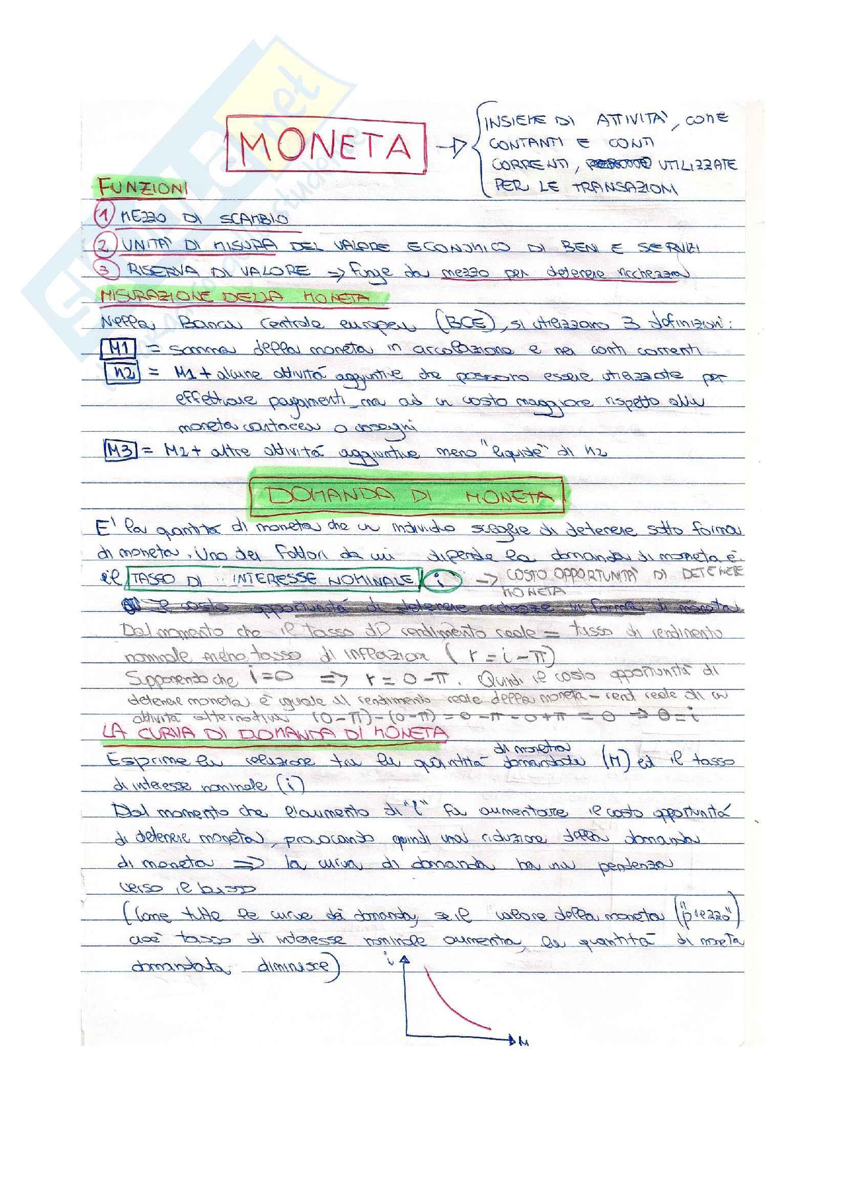 Appunti di economia su Moneta, domanda di moneta, offerta di moneta, equilibrio del mercato della moneta, creazione della moneta, base monetaria, moltiplicatore monetario, banca centrale europea