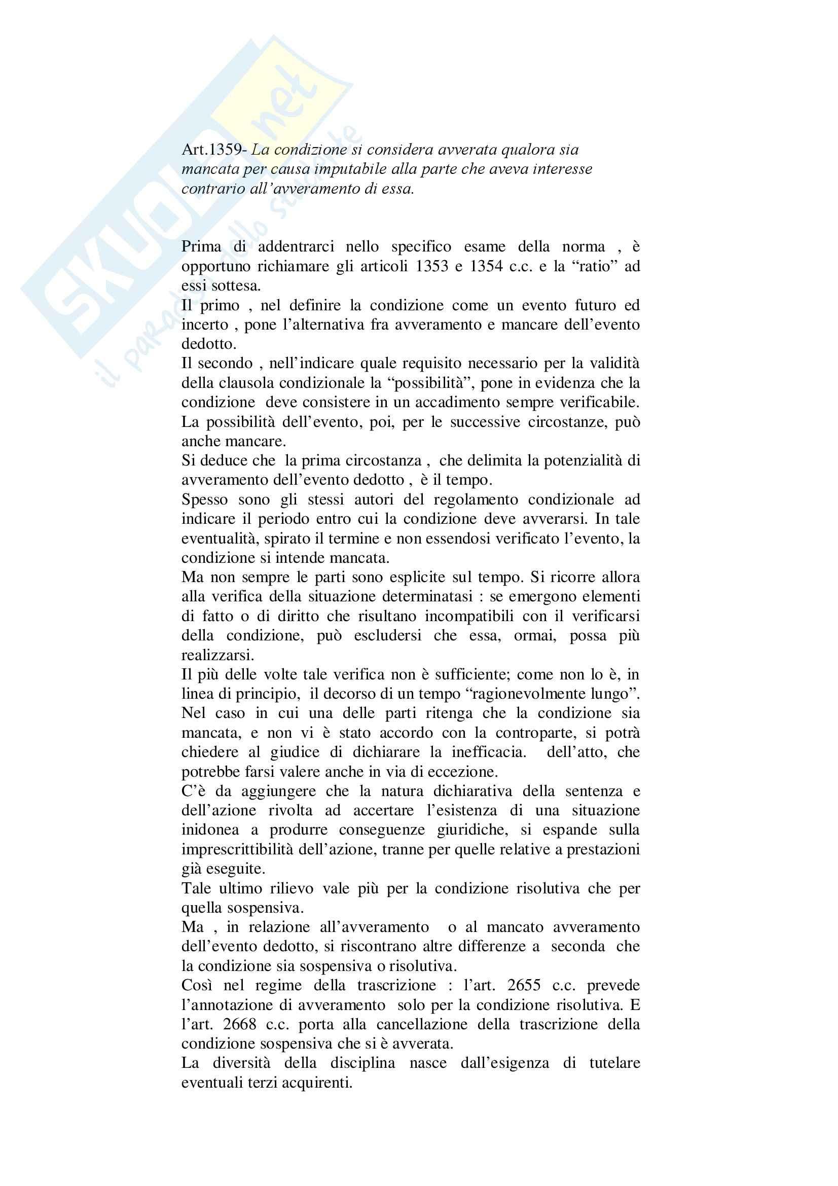 Diritto civile - finzione di avveramento - Riassunto esame, prof. Carli