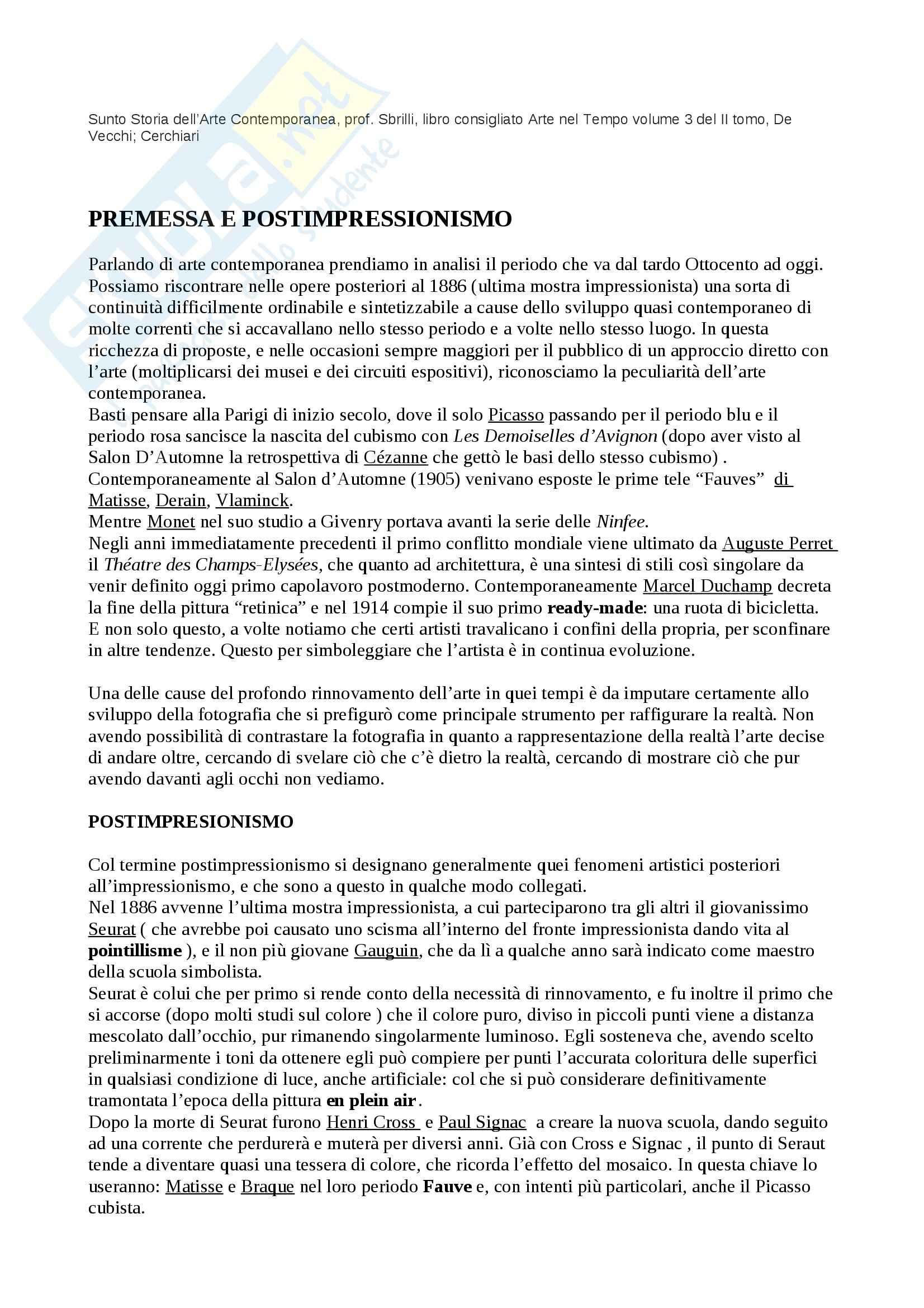 Riassunto esame Arte Contemporanea, prof. Sbrilli, libro consigliato Arte nel Tempo volume 3, II tomo, De Vecchi, Cerchiari