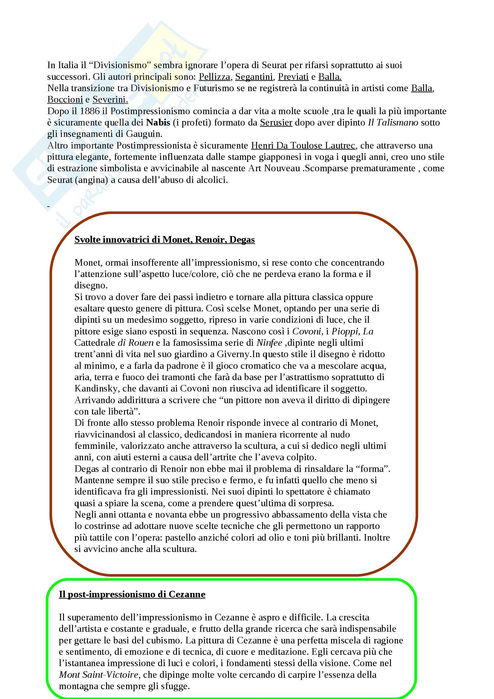 Riassunto esame Arte Contemporanea, prof. Sbrilli, libro consigliato Arte nel Tempo volume 3, II tomo, De Vecchi, Cerchiari Pag. 2