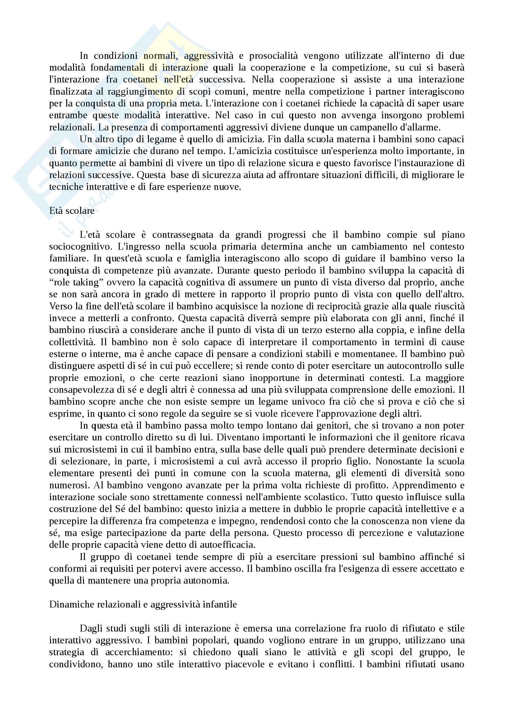 Riassunto esame Psicologia dello Sviluppo, prof. Benedetto, libro consigliato Manuale di Psicologia dello Sviluppo, Fonzi Pag. 46