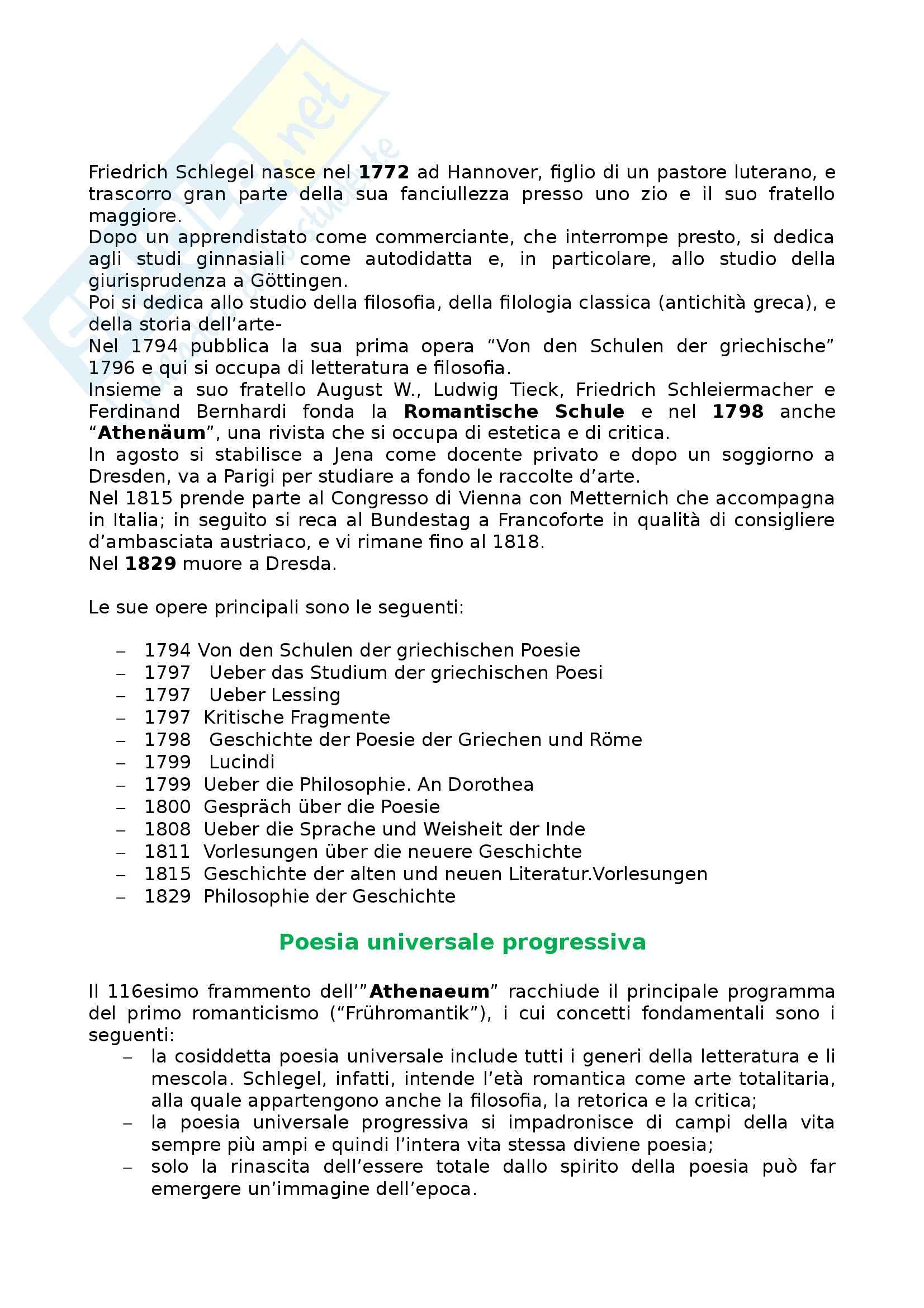 Riassunto esame Letteratura tedesca, prof. Frola, libro consigliato Die Deutsche Literatur in Text und Darstellung - Romantik 1