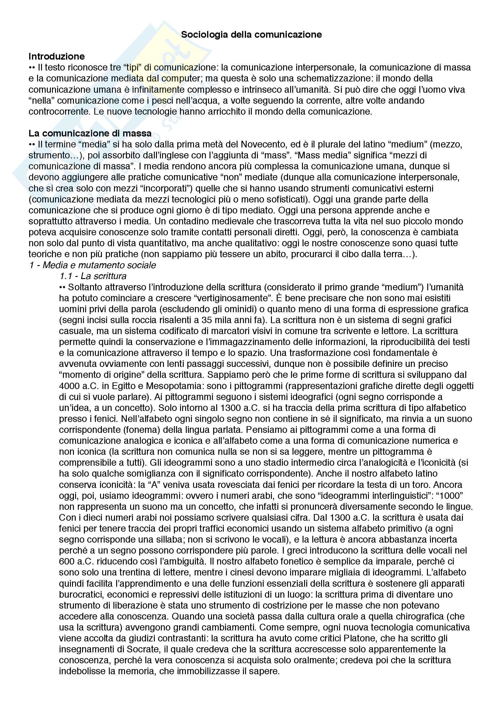 Riassunto esame Sociologia, prof. Giomi, libro consigliato Sociologia della comunicazione, Paccagnella