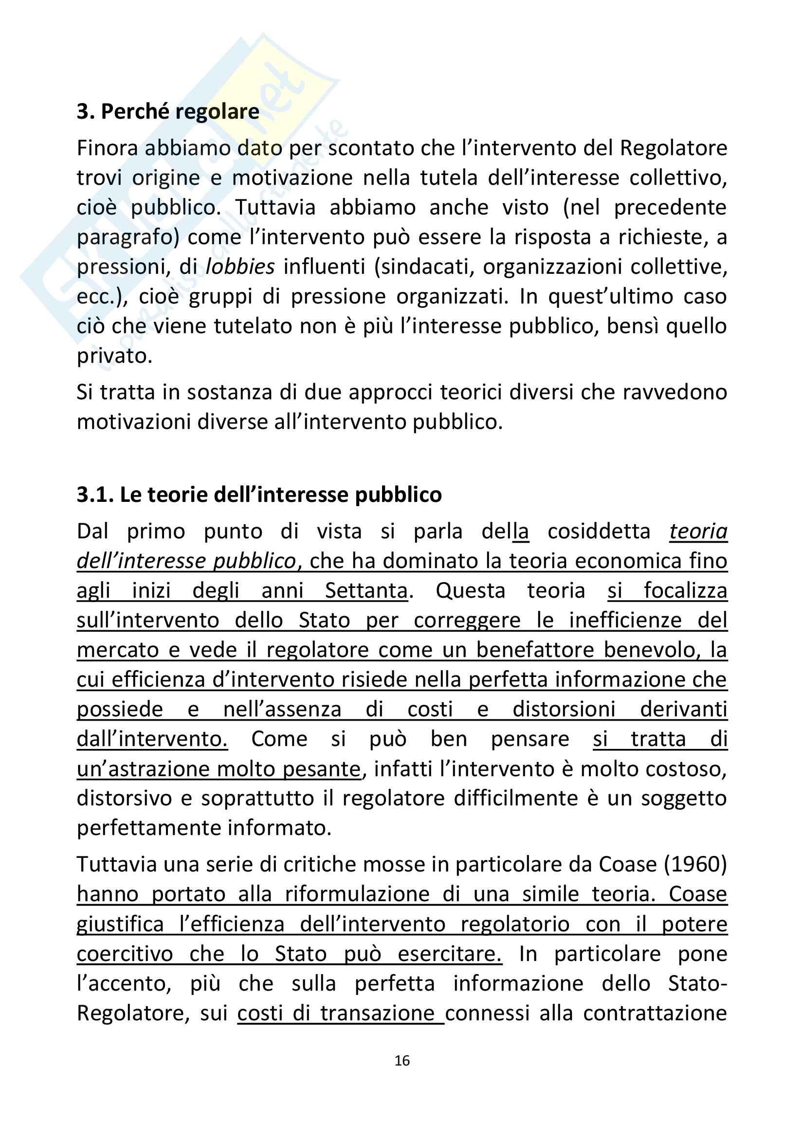 Riassunto esame Economia, prof. Ferrari, libro consigliato Regolazione dei servizi infrastrutturali, teoria e pratica,Marzi, Prosperetti, Putzu Pag. 16