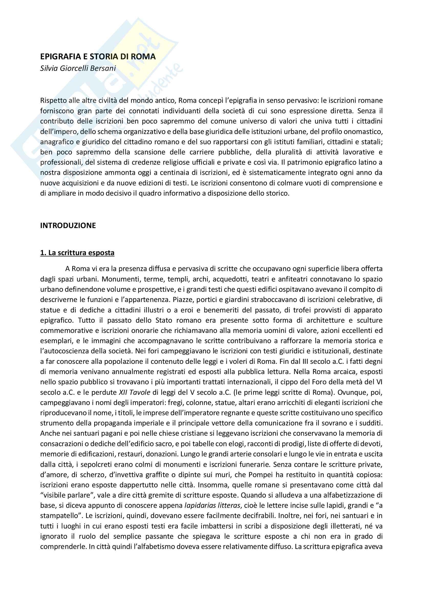Riassunto esame Epigrafia latina e antichità romane, prof. Gregori. Libro consigliato Epigrafia e storia di Roma, S. Giorcelli Bersani