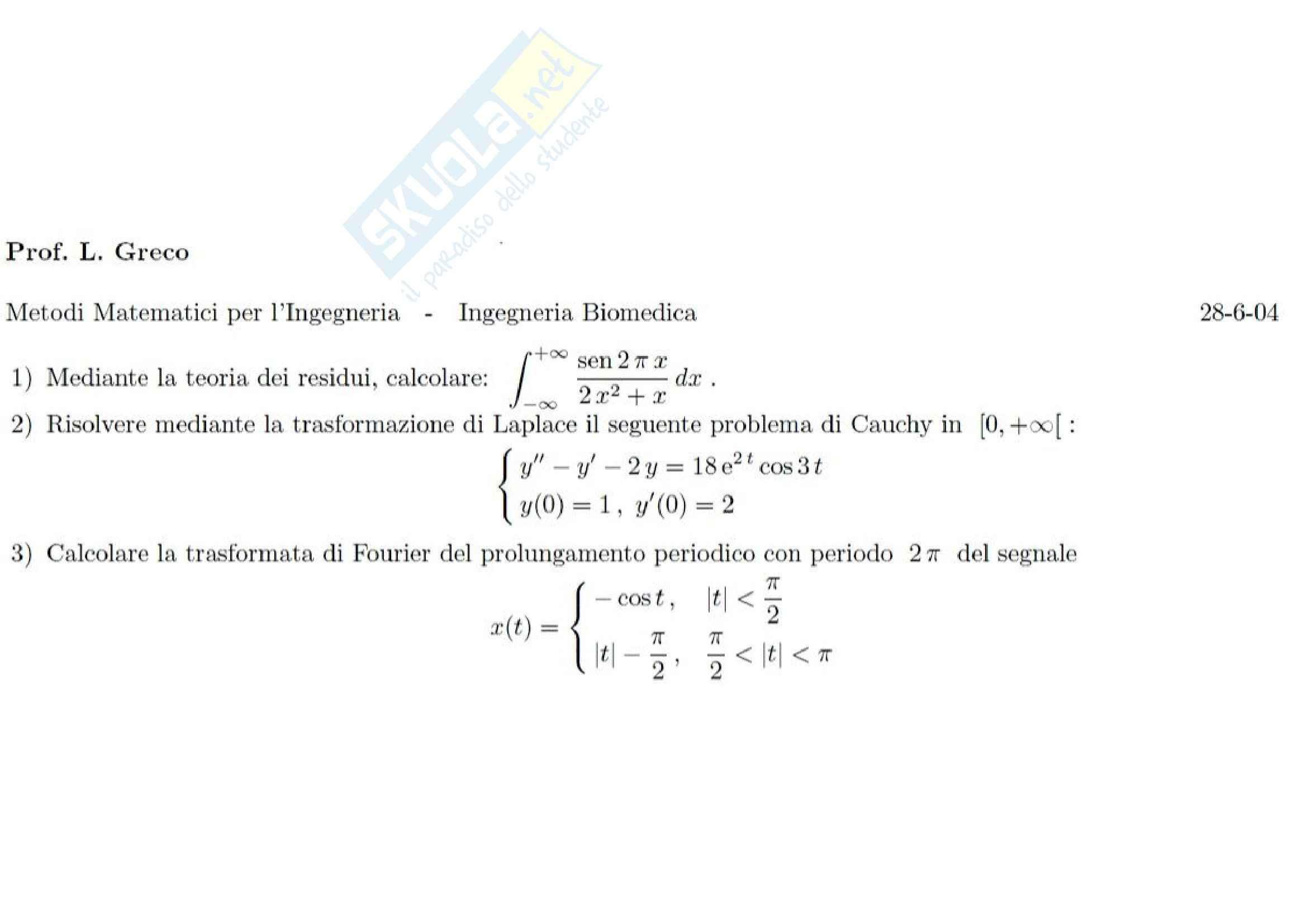 Metodi matematici per l'ingegneria - Esercizi vari
