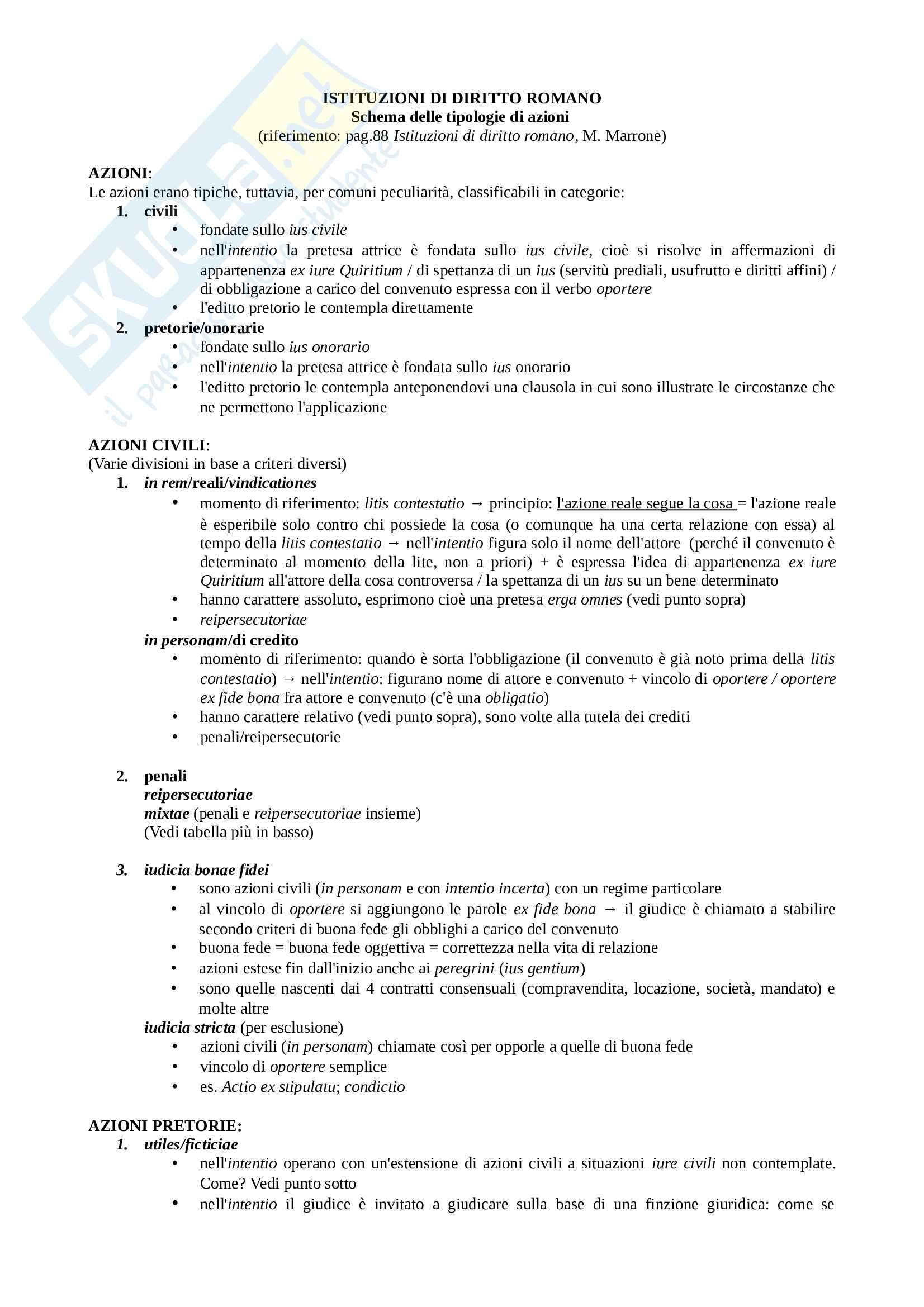 Schema: tipologie di azioni nel diritto romano, Istituzioni di diritto romano