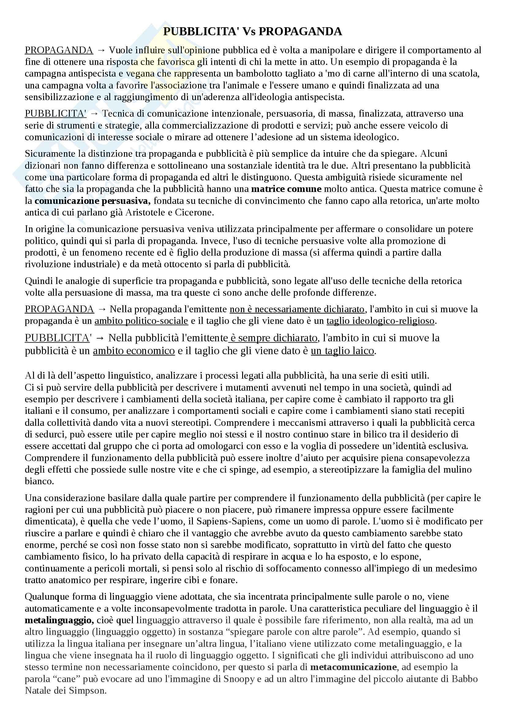 Riassunto esame linguistica e sociolinguistica, prof. Dragotto, libro consigliato Non solo marketing, Dragotto Pag. 2
