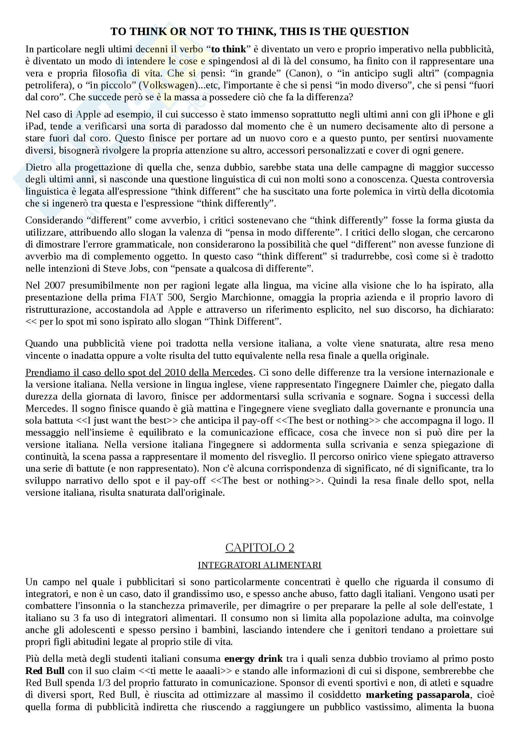 Riassunto esame linguistica e sociolinguistica, prof. Dragotto, libro consigliato Non solo marketing, Dragotto Pag. 6