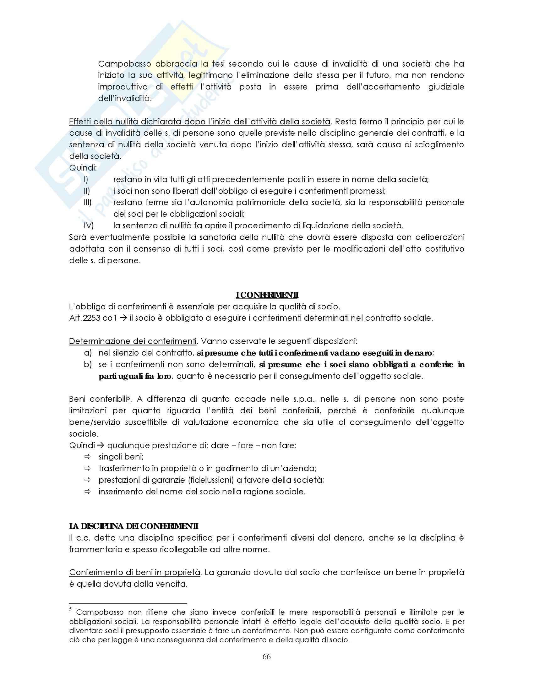 Riassunto esame Diritto commerciale, prof. Weigmann, libro consigliato Manuale di diritto commerciale, Campobasso: contratto società Pag. 11