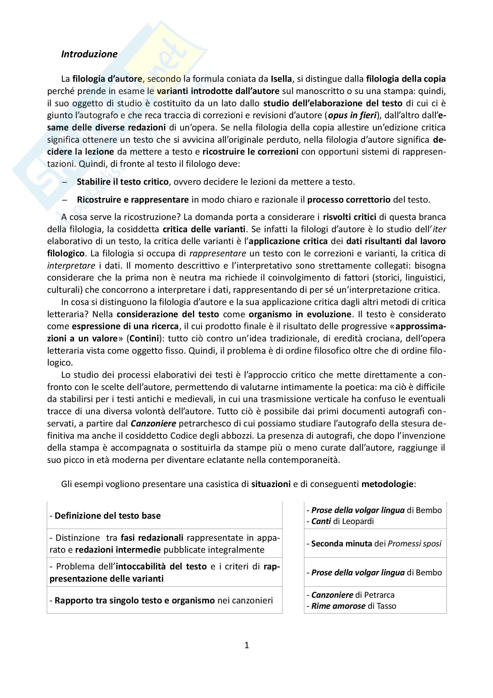 Riassunto esame Filologia dei testi a stampa, prof. Cadioli, libro consigliato Che cos'è la filologia d'autore, Italia, Raboni