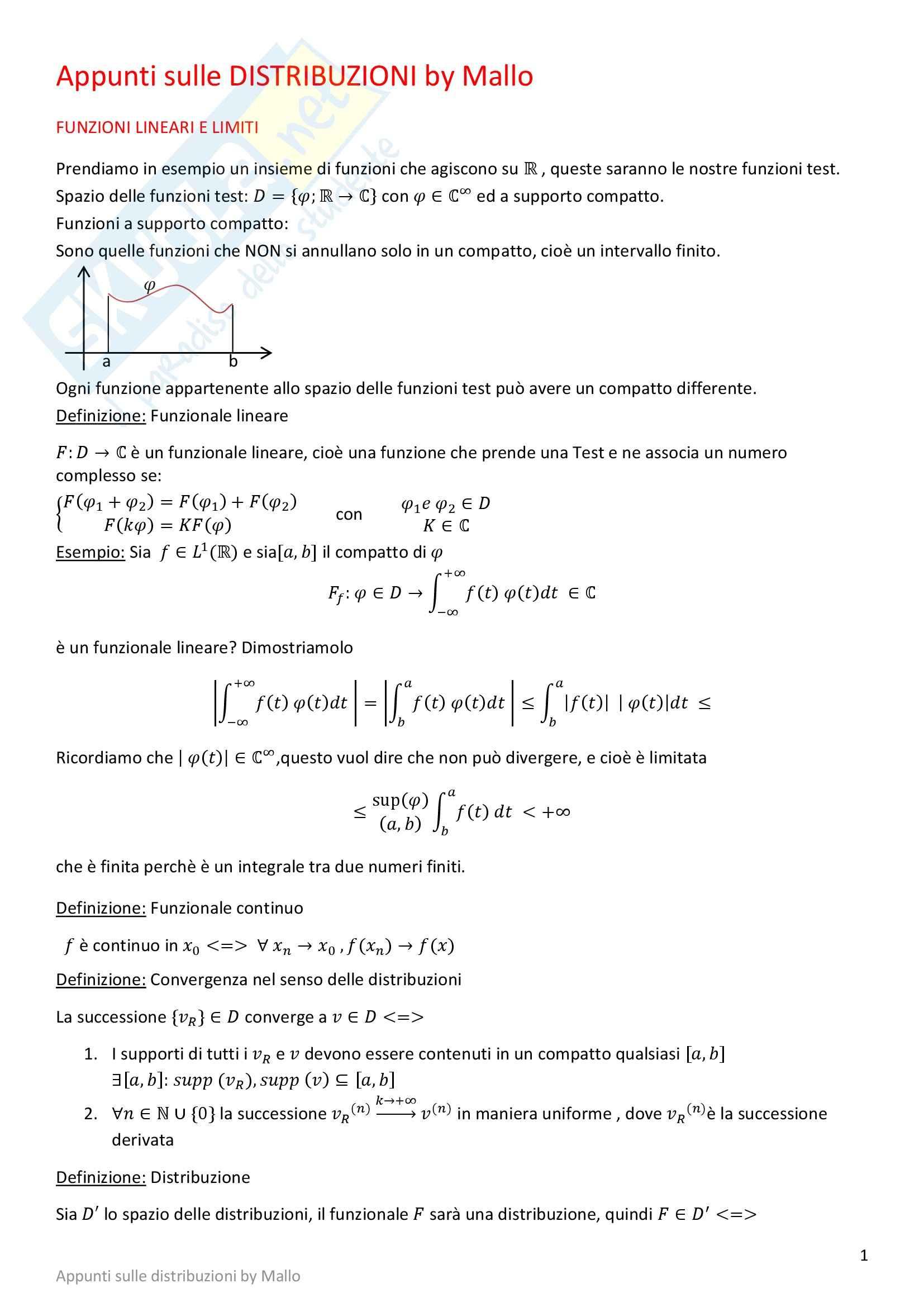 Metodi matematici - le distribuzioni