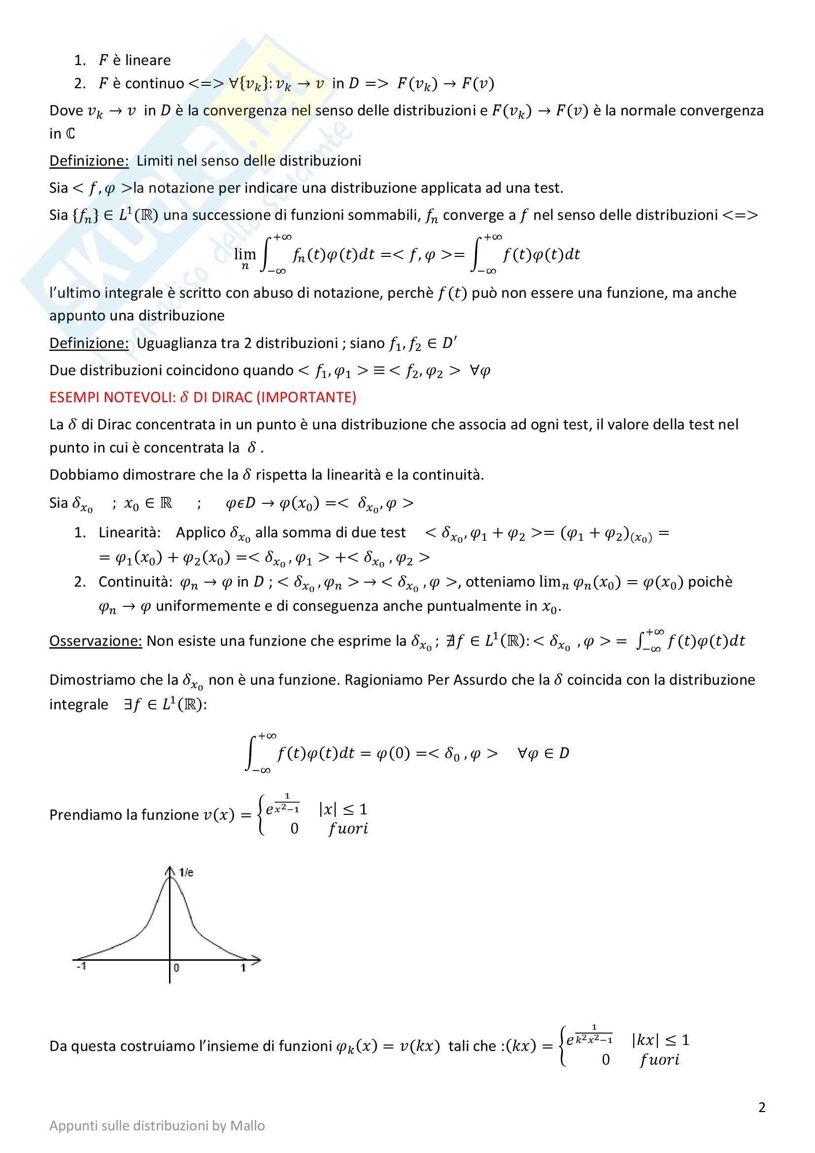 Metodi matematici - le distribuzioni Pag. 2