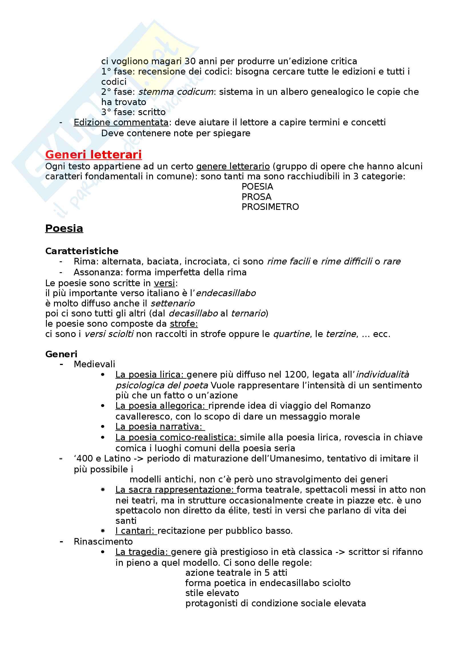 Riassunto esame letteratura, prof. Masoero, libro consigliato Dimensioni della letteratura italiana, Morabito, Roma, Carocci, 2004 Pag. 2