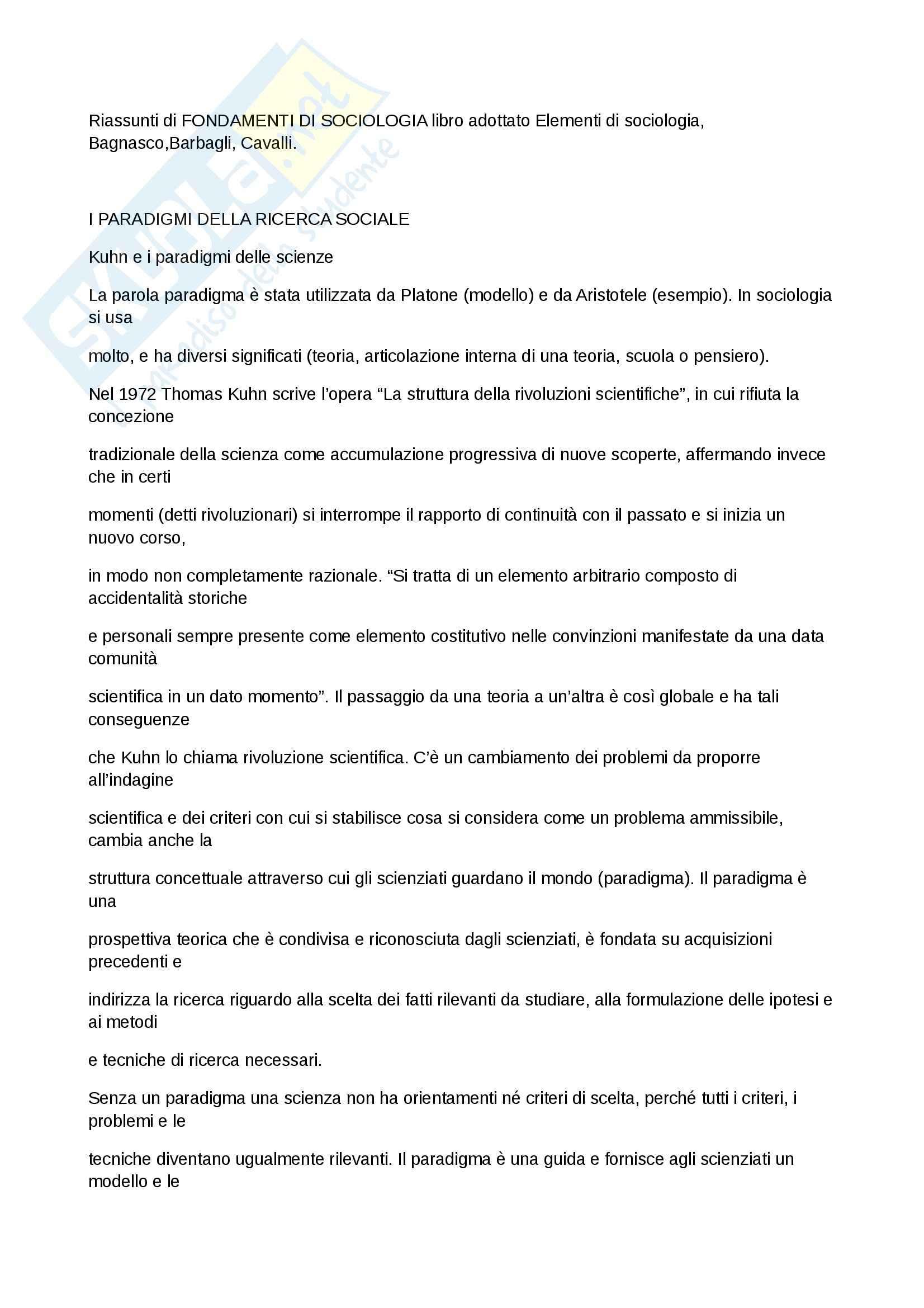 Riassunto esame Sociologia, prof. Forno, libro consigliato Elementi di sociologia, Bagnasco,Barbagli, Cavalli