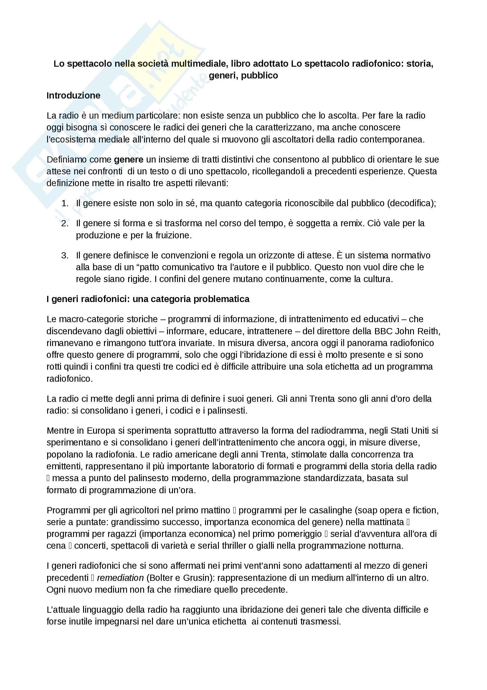 Riassunto esame Spettacolo, prof. Bonini, libro consigliato Lo spettacolo radiofonico