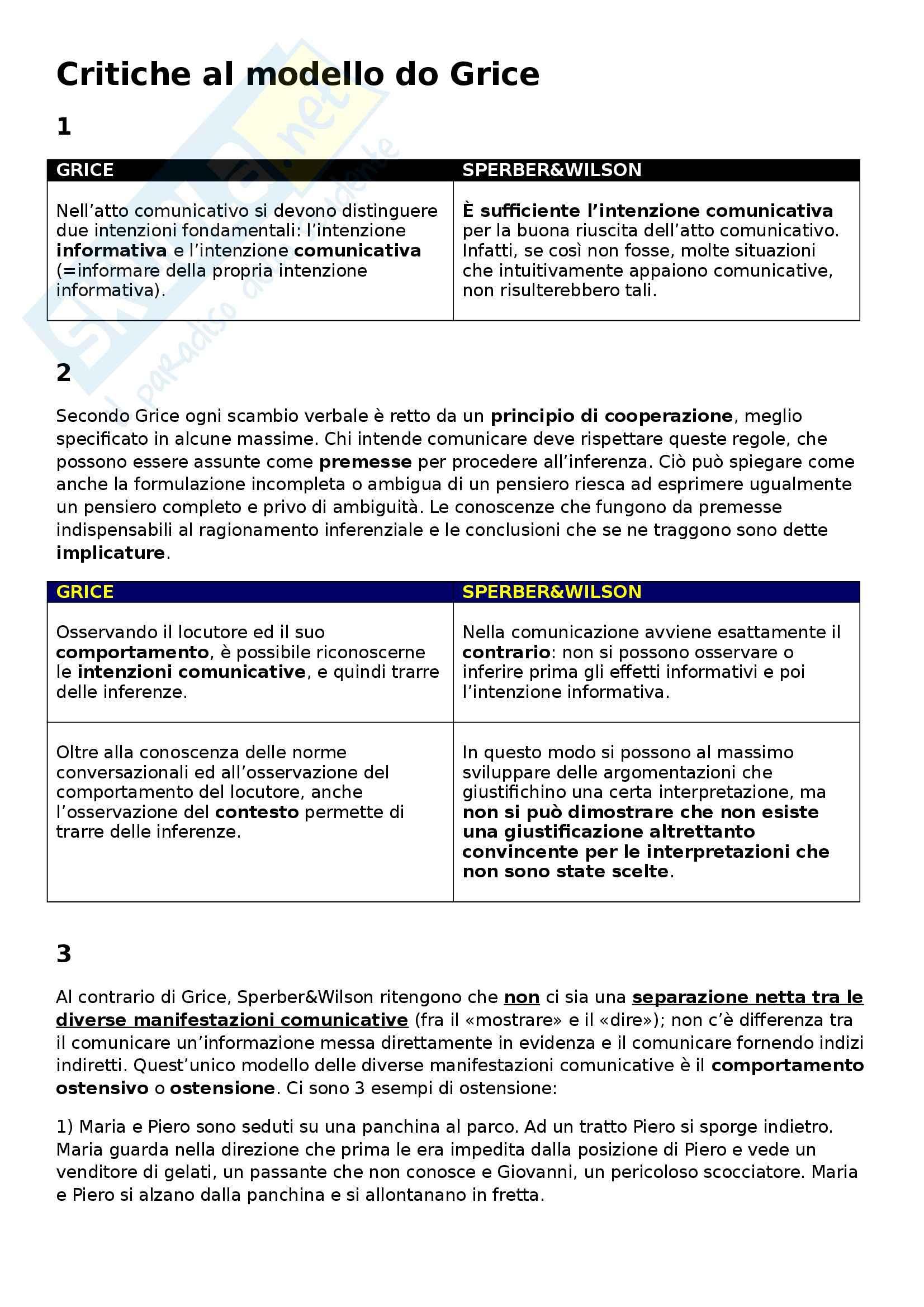 Linguistica italiana - Critiche al modello di Grice