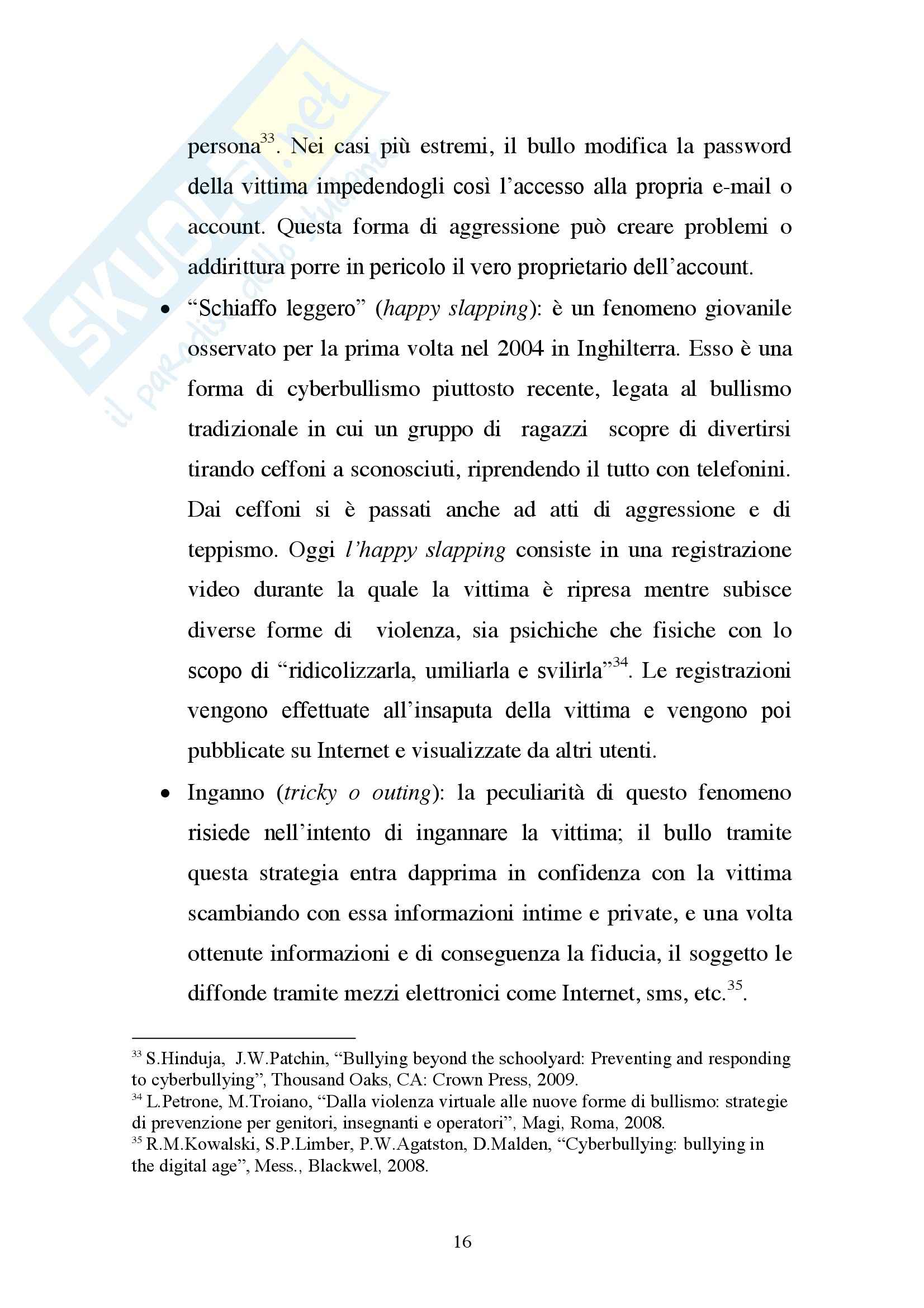 Cyberbullismo, Criminologia Pag. 16