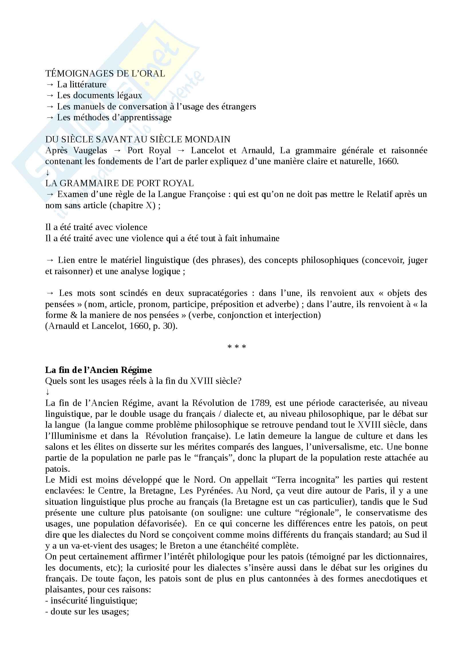 "Riassunto esame Storia della lingua francese, prof. Floquet, libro consigliato: Rey, A. et alii, ""Mille ans de langue française"", Paris, Perrin, 2007. Pag. 16"
