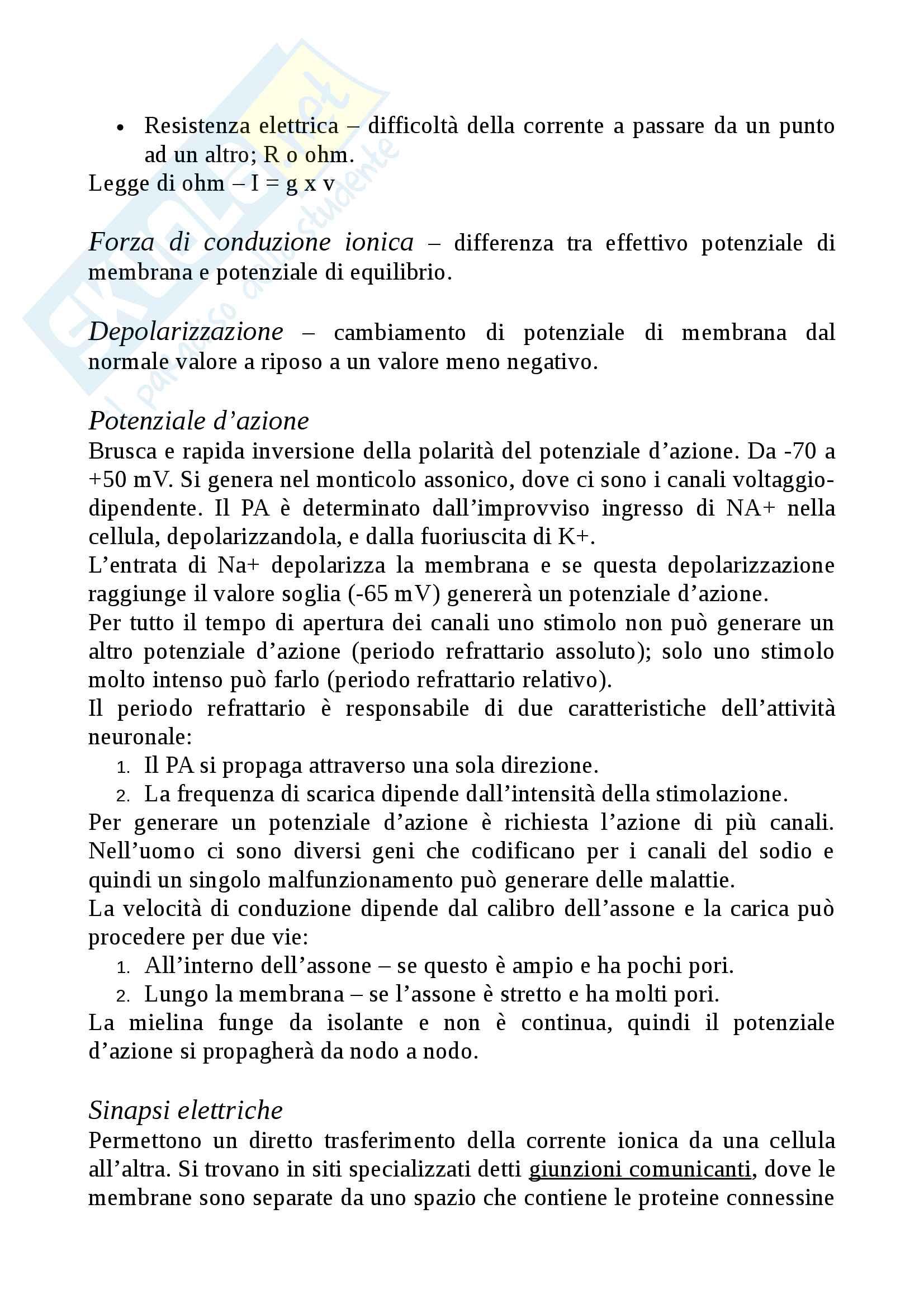 Riassunto esame Psicologia Fisiologica, prof. Trojano Luigi, libro consigliato Neuroscienze. Esplorando il carvello, Bear Pag. 2