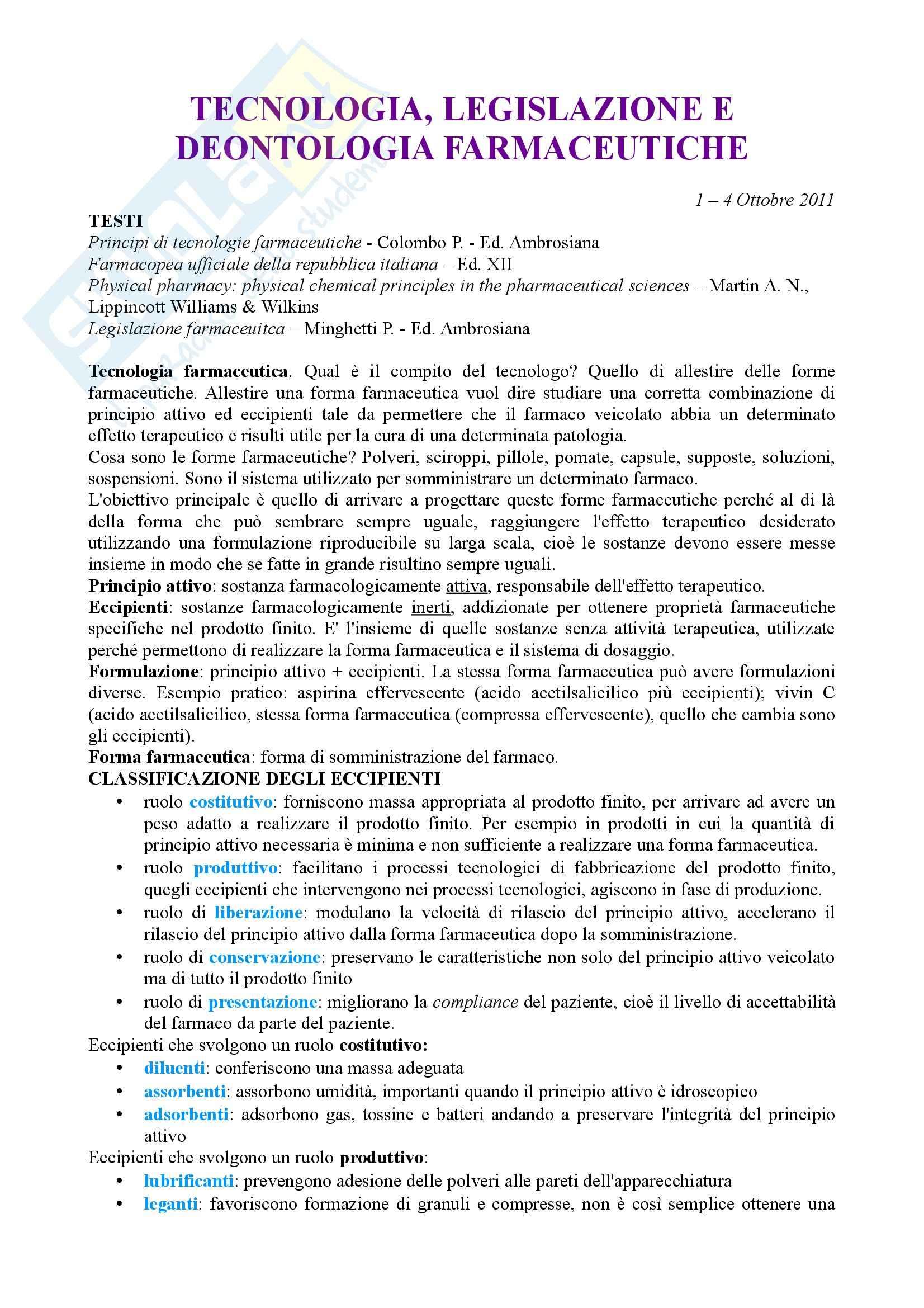 Tecnica farmaceutica - tecnologia, legislazione e deontologia farmaceutiche