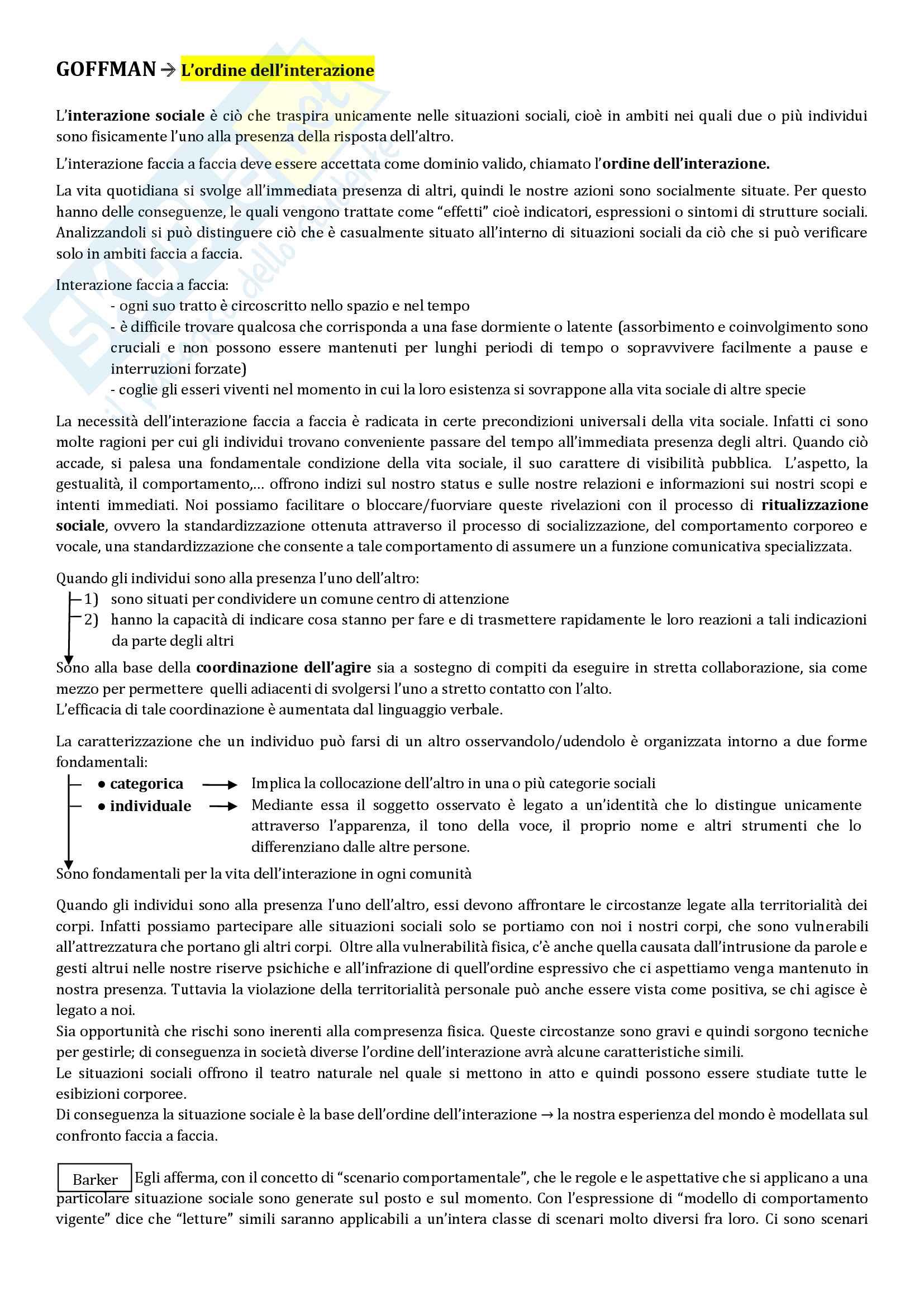 Riassunto esame Sociologia della comunicazione, prof. Lalli, libro consigliato L'ordine dell interazione, Goffman