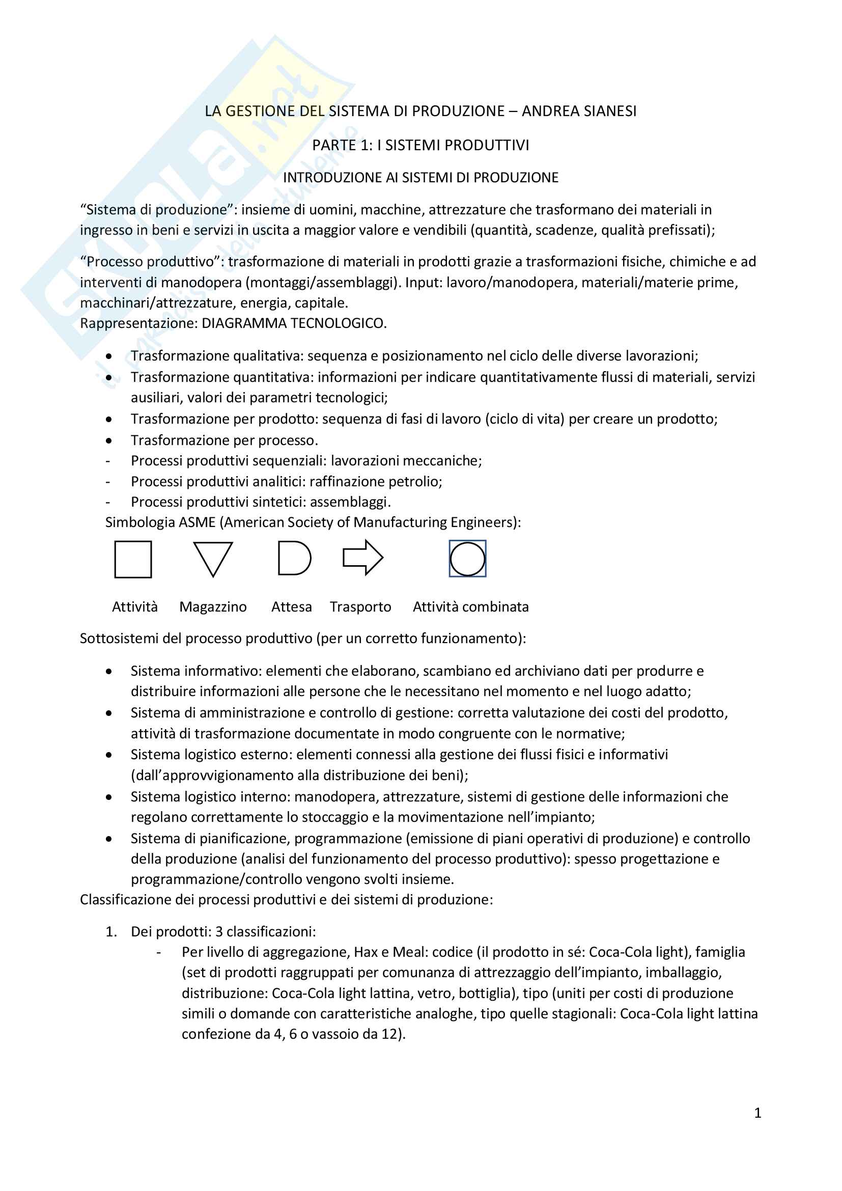 Riassunto esame di gestione dei sistemi logistici e produttivi, prof Andrea Sianesi, libro consigliato: La gestione del sistema di produzione, Andrea Sianesi