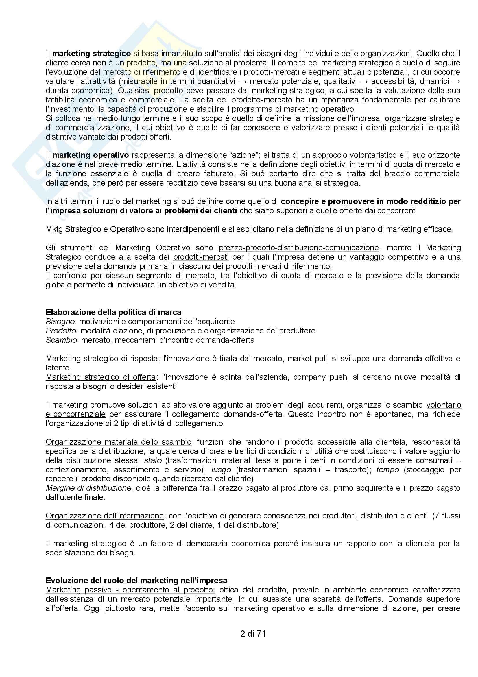 Riassunto esame Organizzazione Aziendale, prof. Vernuccio, libro consigliato Marketing Strategico e Operativo, Lambin Pag. 2