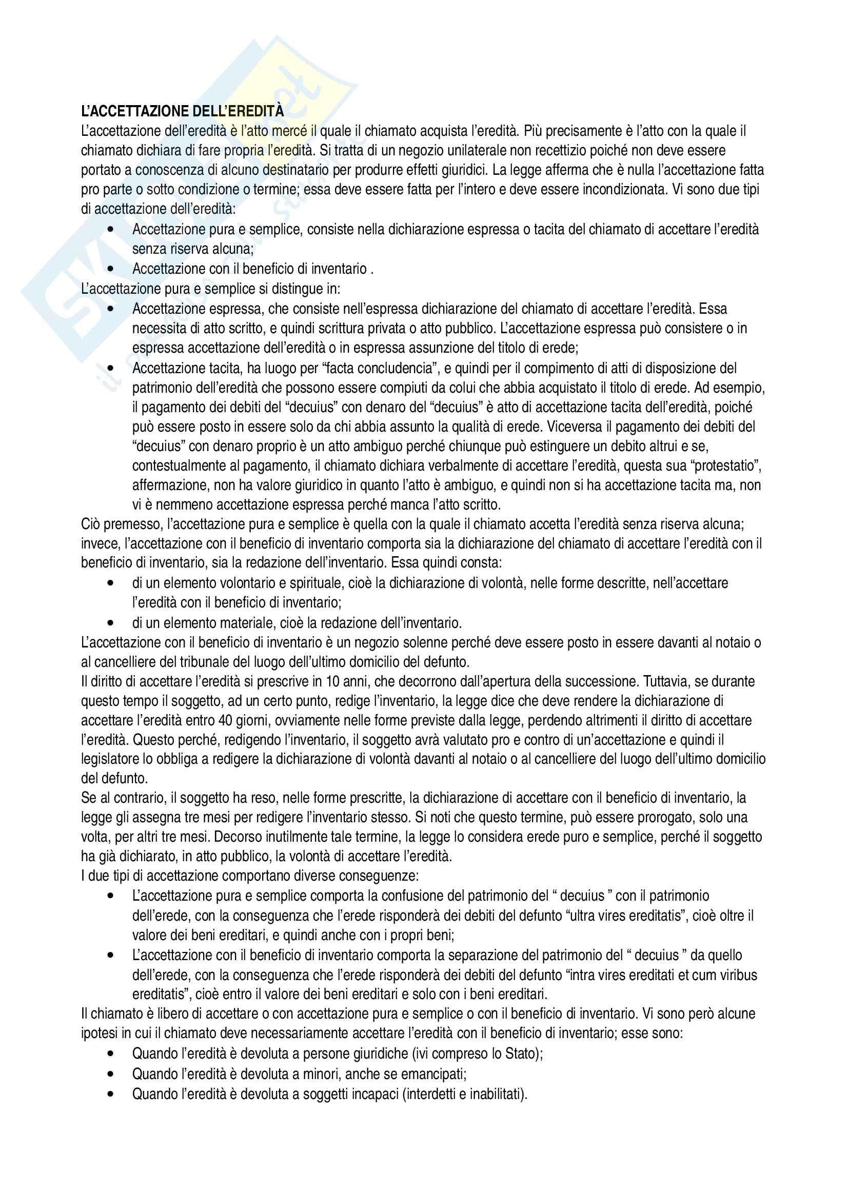 Successioni, Diritto privato Pag. 6