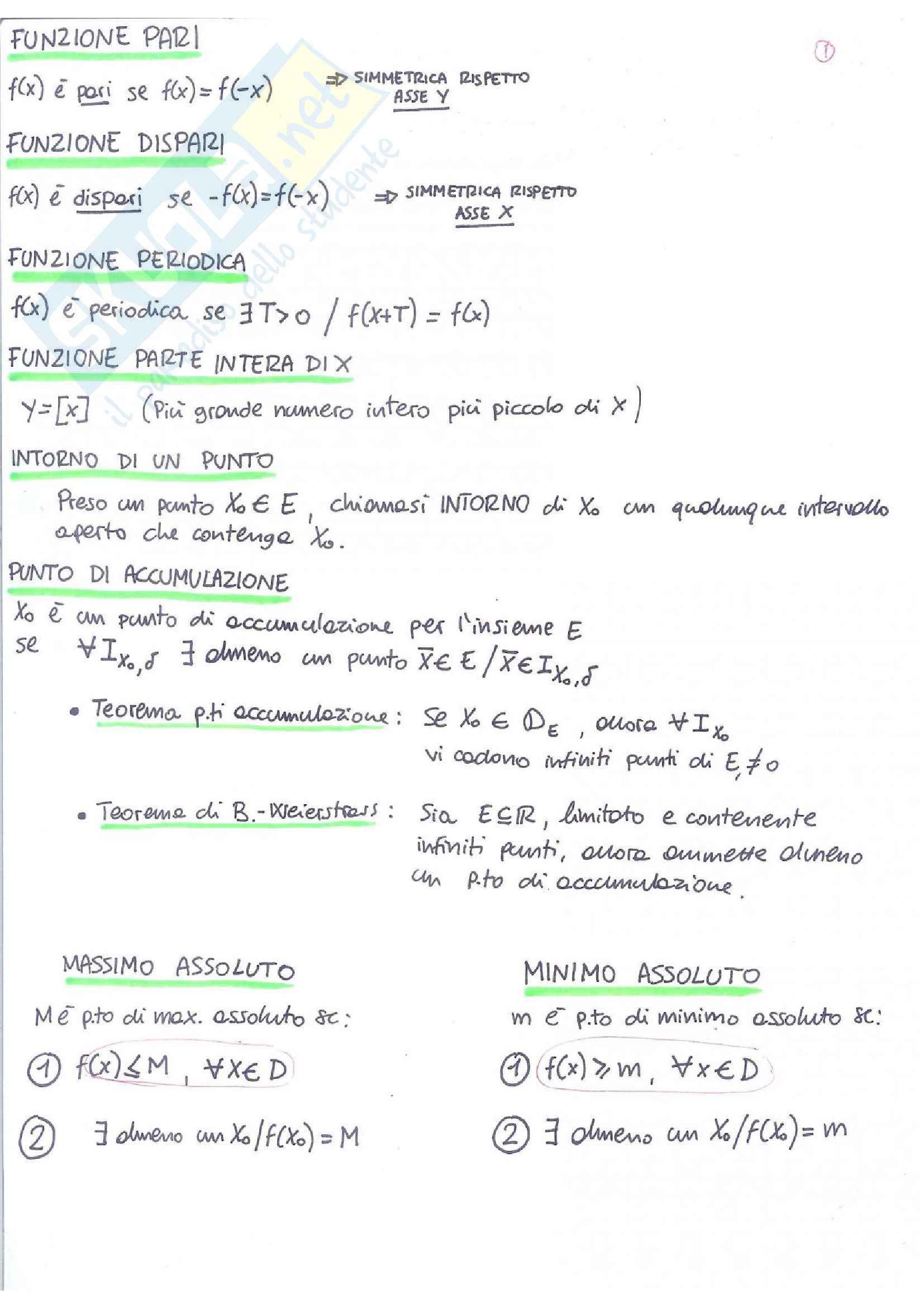 Appunti di Analisi 1