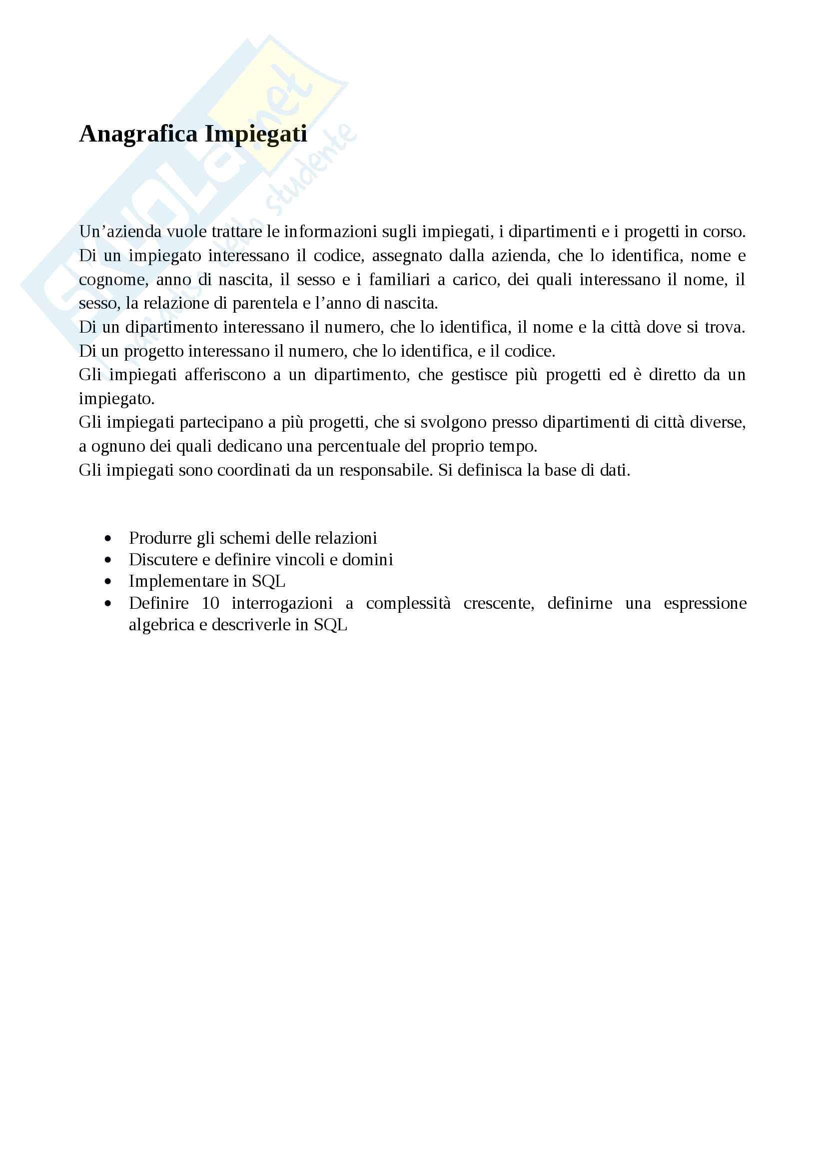 Progetto basi di dati (tesina SQL - database) Pag. 2