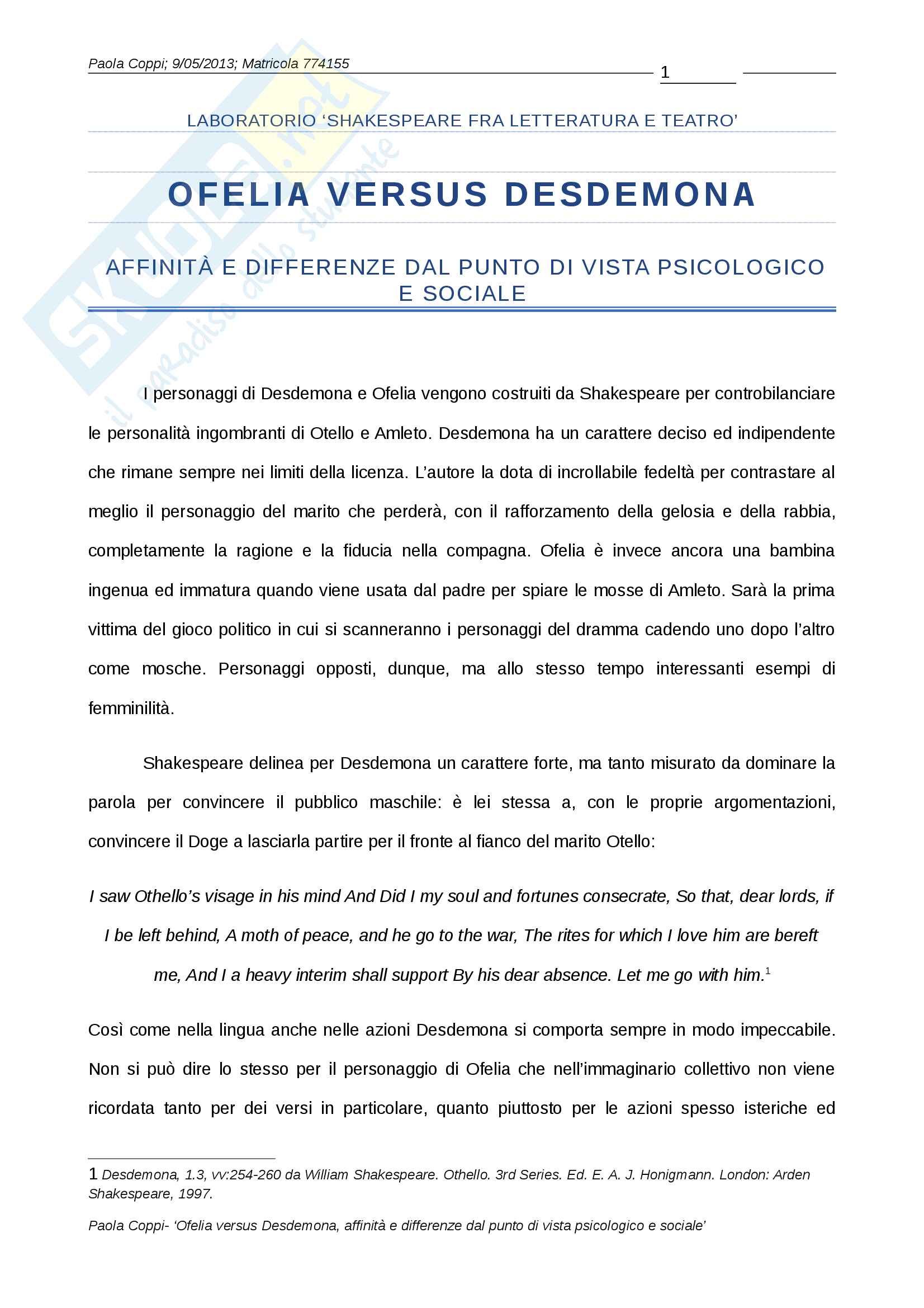 Letteratura inglese Ofelia Vs. Desdemona