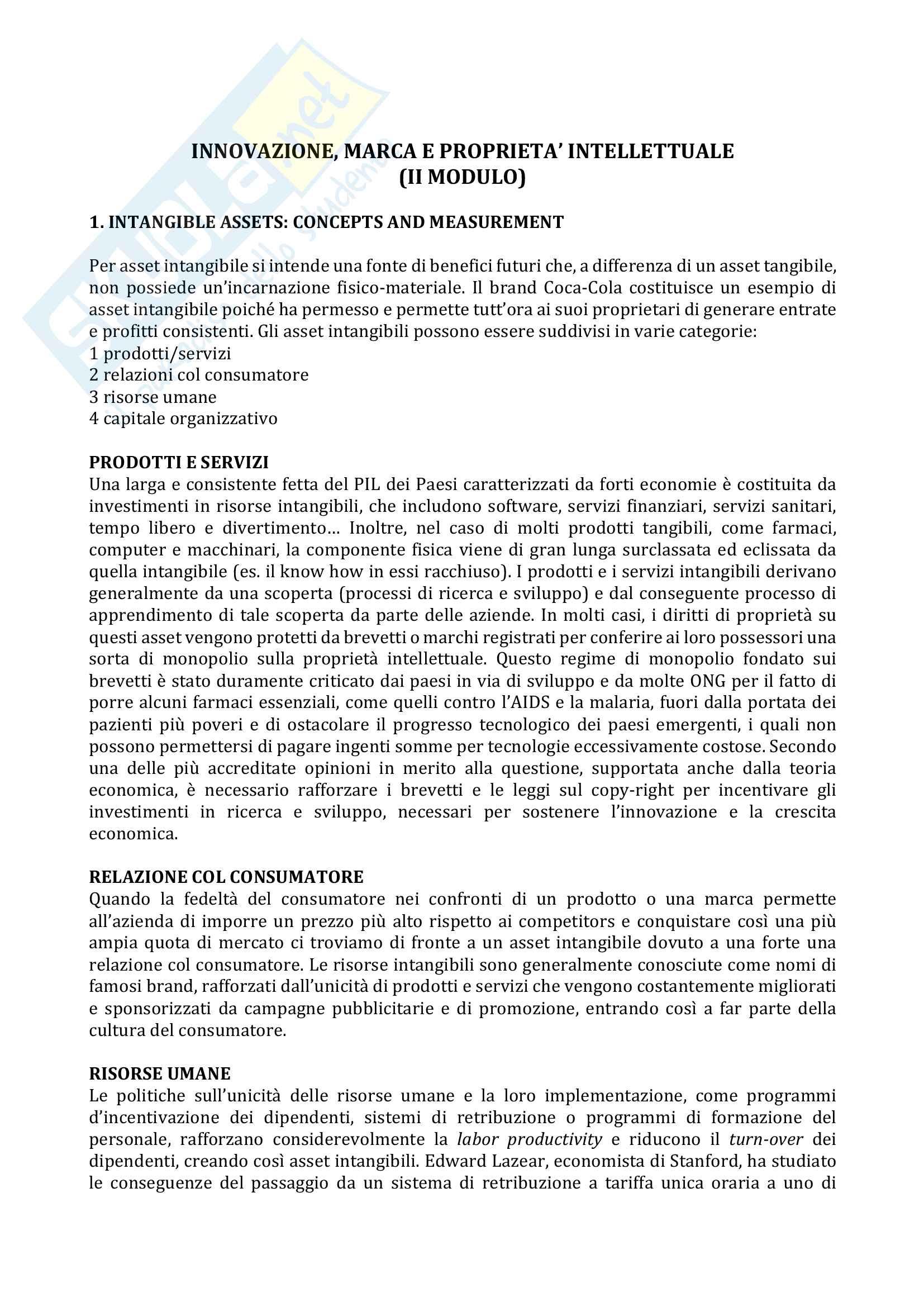 """Riassunto esame Innovazione, marca e proprietà intellettuale, prof. Mancusi - Fiocca, libro consigliato """"dispensa della prof. Mancusi"""" - (II modulo)"""