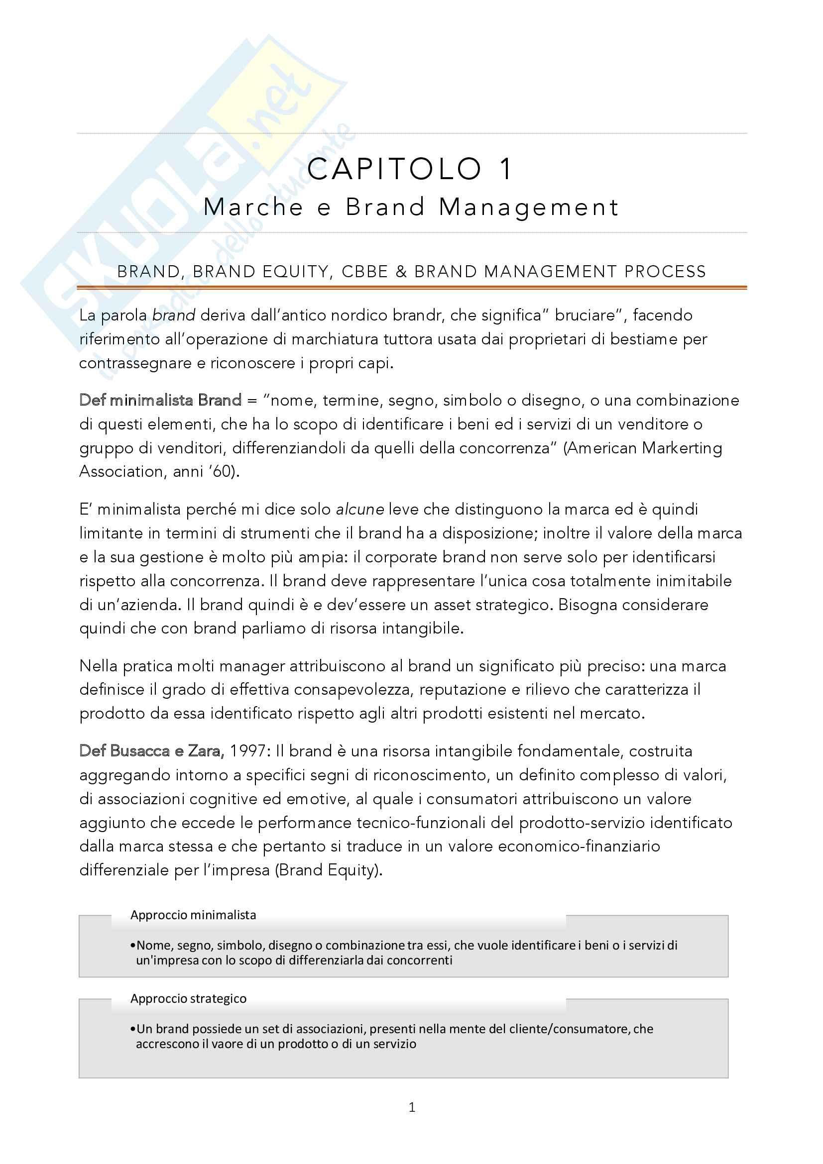 Riassunto esame Brand Management, prof Ostillio