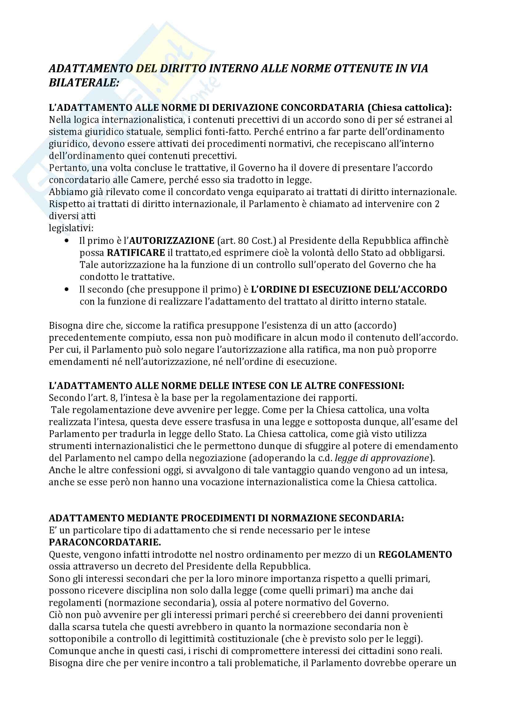 Diritto costituzionale - adattamento del diritto interno alle norme ottenute in via bilaterale Pag. 1