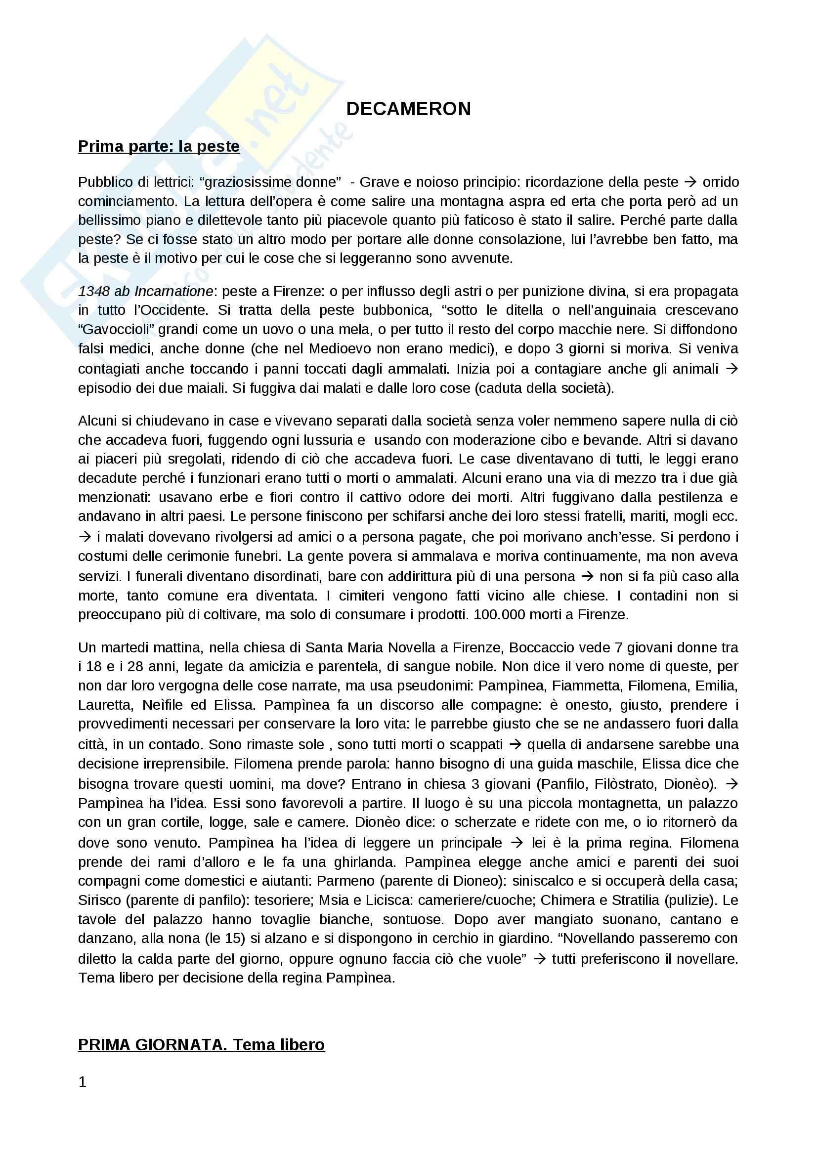 Decameron di Boccaccio - Riassunto novella per novella, prof. Viola