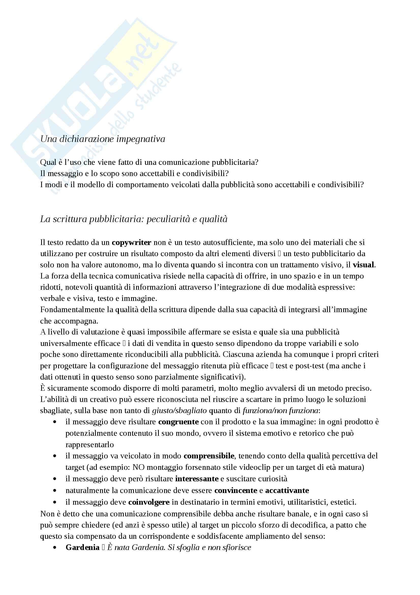 Riassunto esame Pubblicità, prof. Diaz, libro consigliato Pubblicità, La parola immaginata, Testa