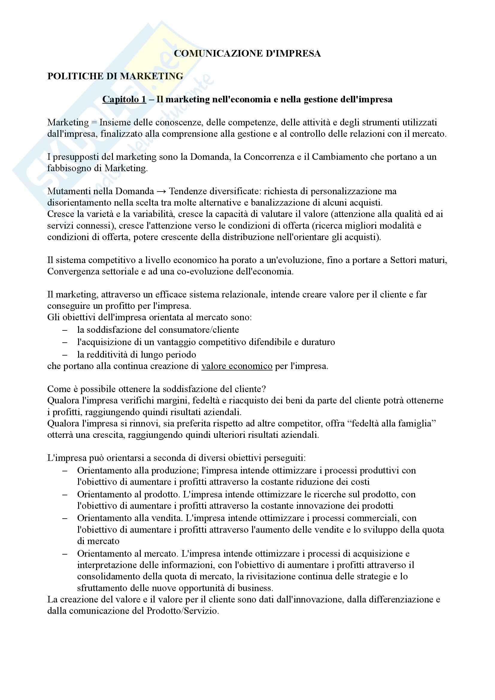 Riassunto esame Comunicazione d'impresa, prof. Magagnino, libro consigliato Marketing driven management, Lambin