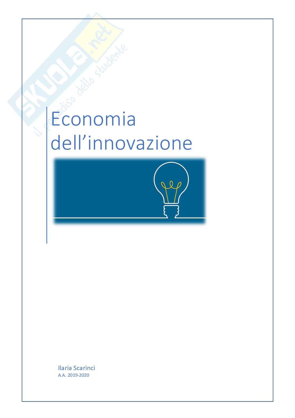 Riassunto esame Economia dell'innovazione, prof. Guarascio, libro consigliato Economia dell'innovazione, Malerba