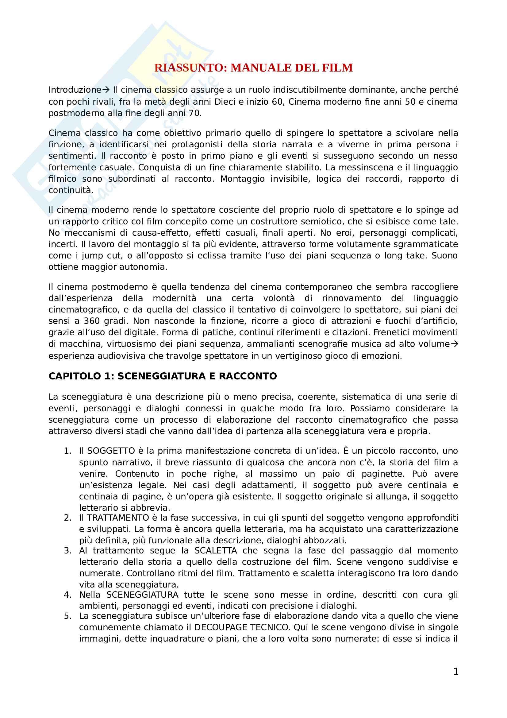 Riassunto esame analisi del film, prof. Di Donato, libro consigliato Manuale del film, Tomasi e Rondolino